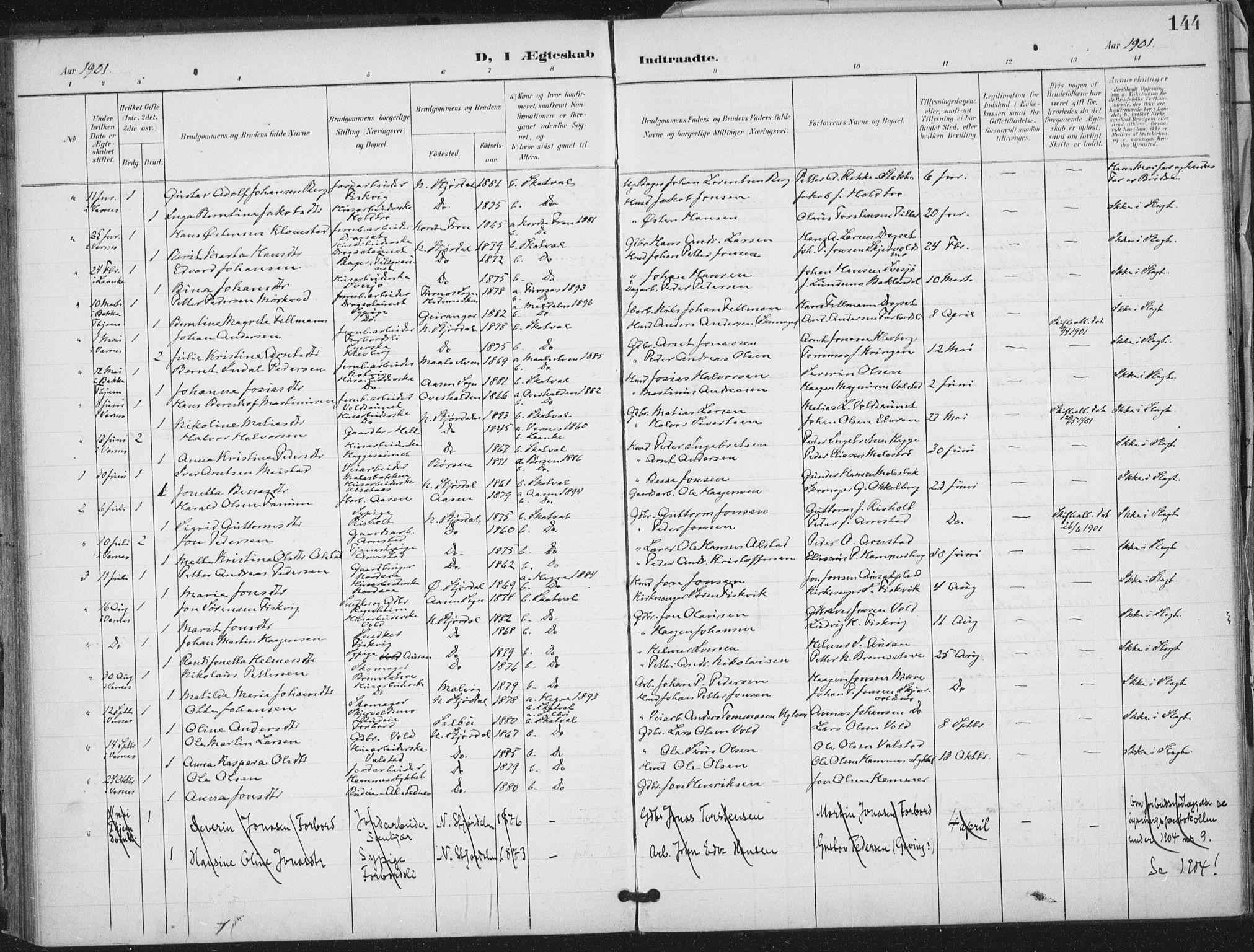 SAT, Ministerialprotokoller, klokkerbøker og fødselsregistre - Nord-Trøndelag, 712/L0101: Ministerialbok nr. 712A02, 1901-1916, s. 144