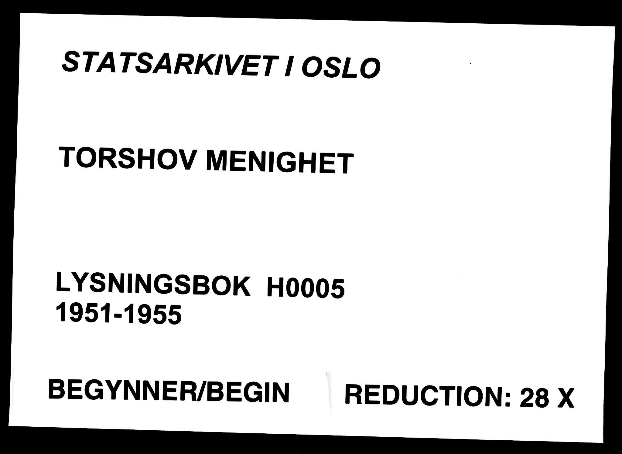 SAO, Torshov prestekontor Kirkebøker, H/Ha/L0005: Lysningsprotokoll nr. 5, 1951-1955