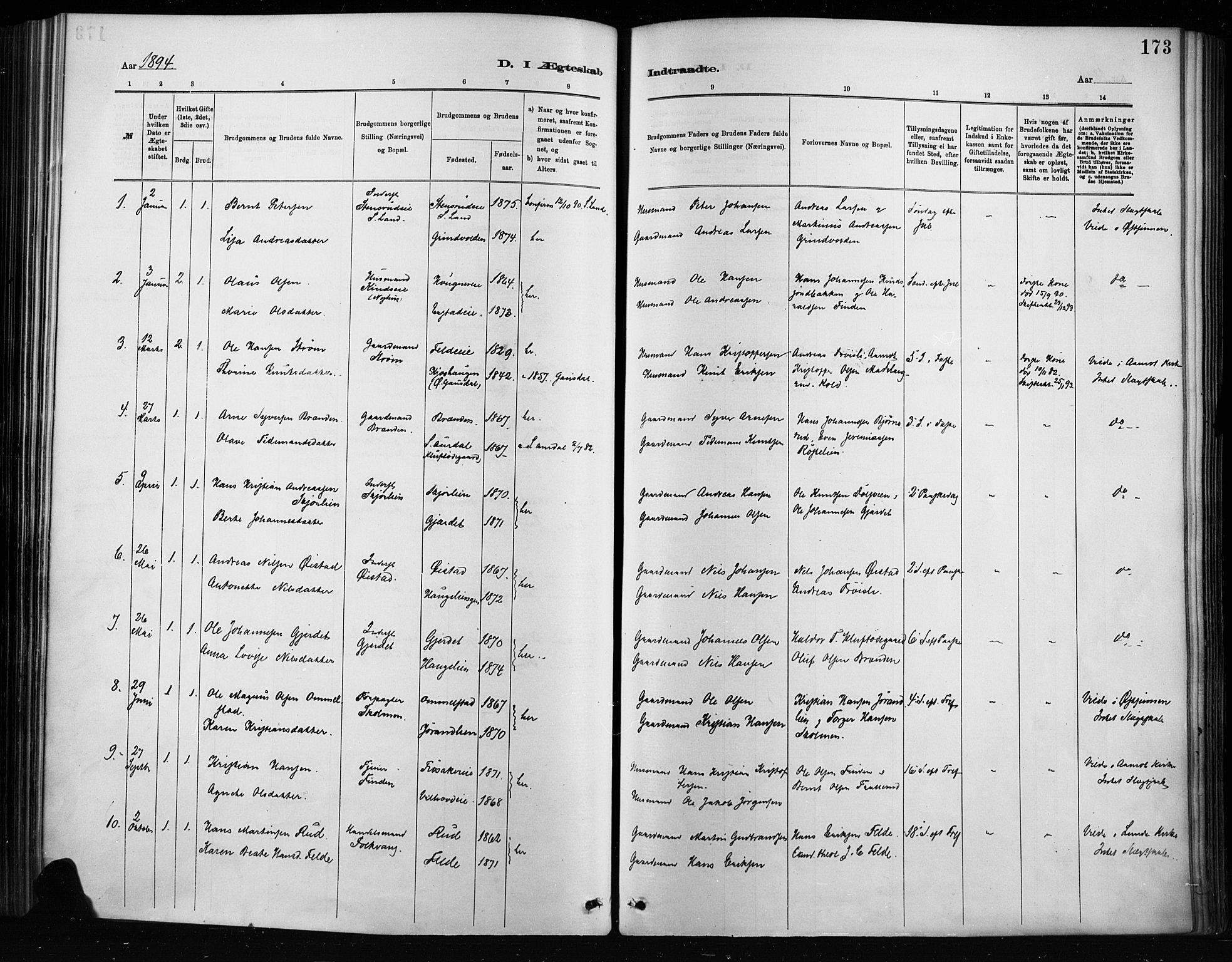 SAH, Nordre Land prestekontor, Ministerialbok nr. 4, 1882-1896, s. 173