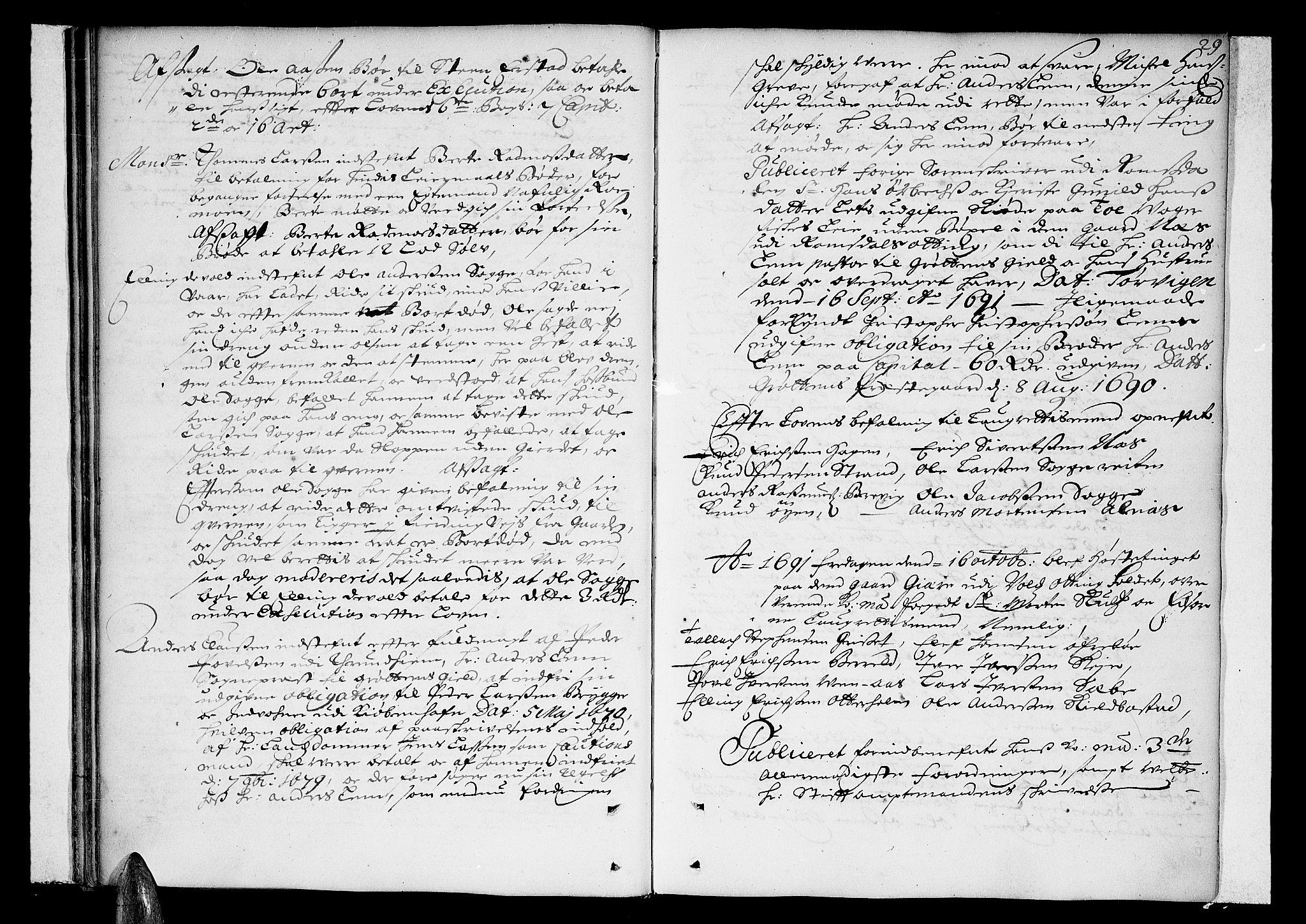 SAT, Romsdal sorenskriveri, 1/1A/L0002: Tingbok, 1690-1693, s. 28b-29a