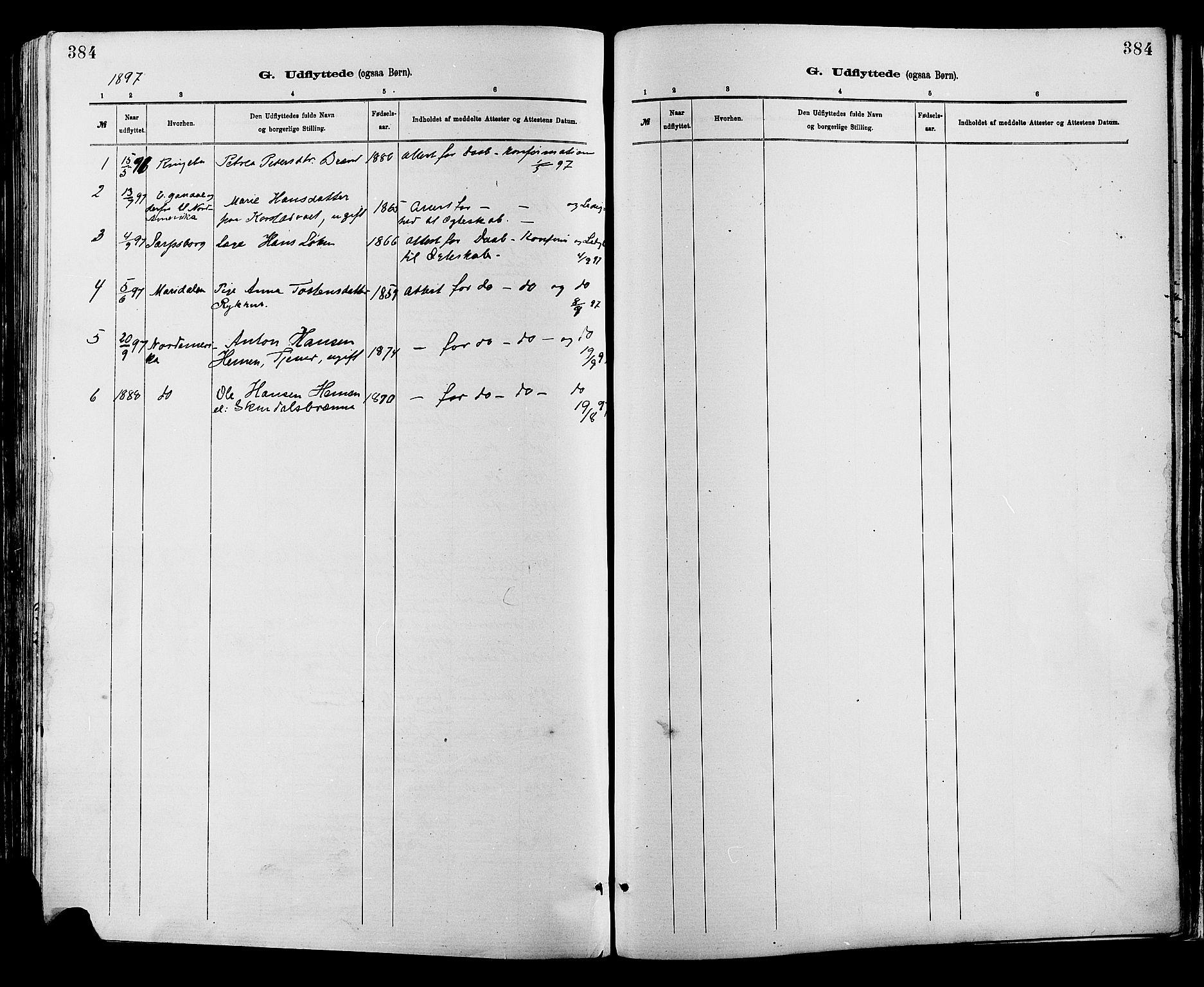 SAH, Sør-Fron prestekontor, H/Ha/Haa/L0003: Ministerialbok nr. 3, 1881-1897, s. 384