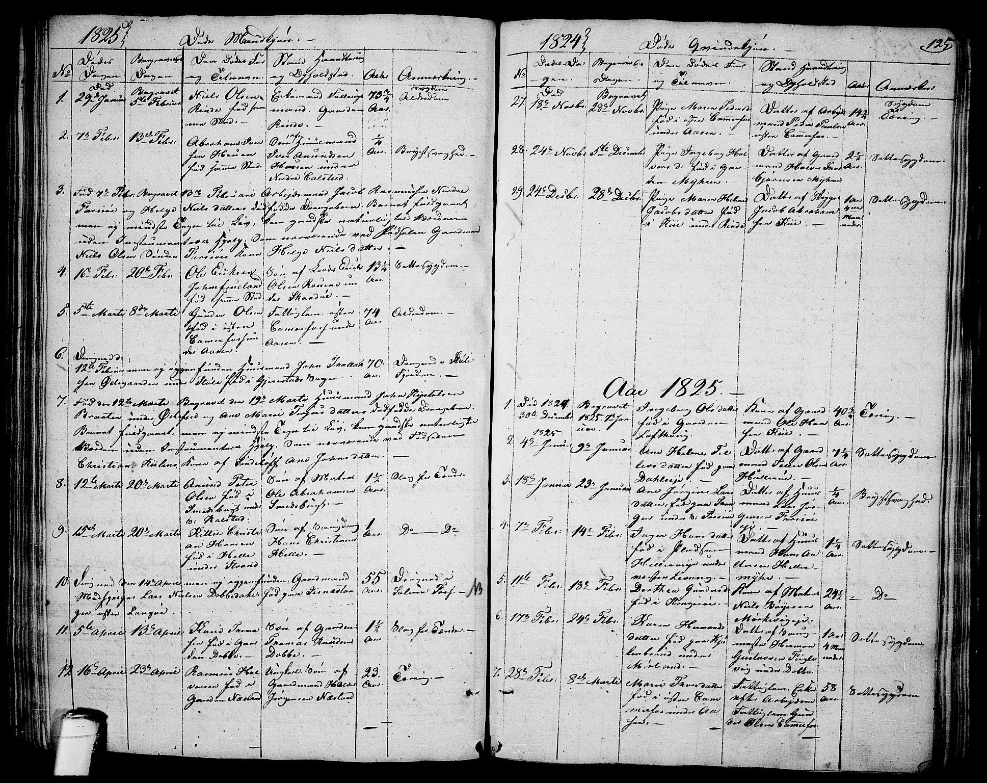 SAKO, Sannidal kirkebøker, F/Fa/L0005: Ministerialbok nr. 5, 1823-1830, s. 125