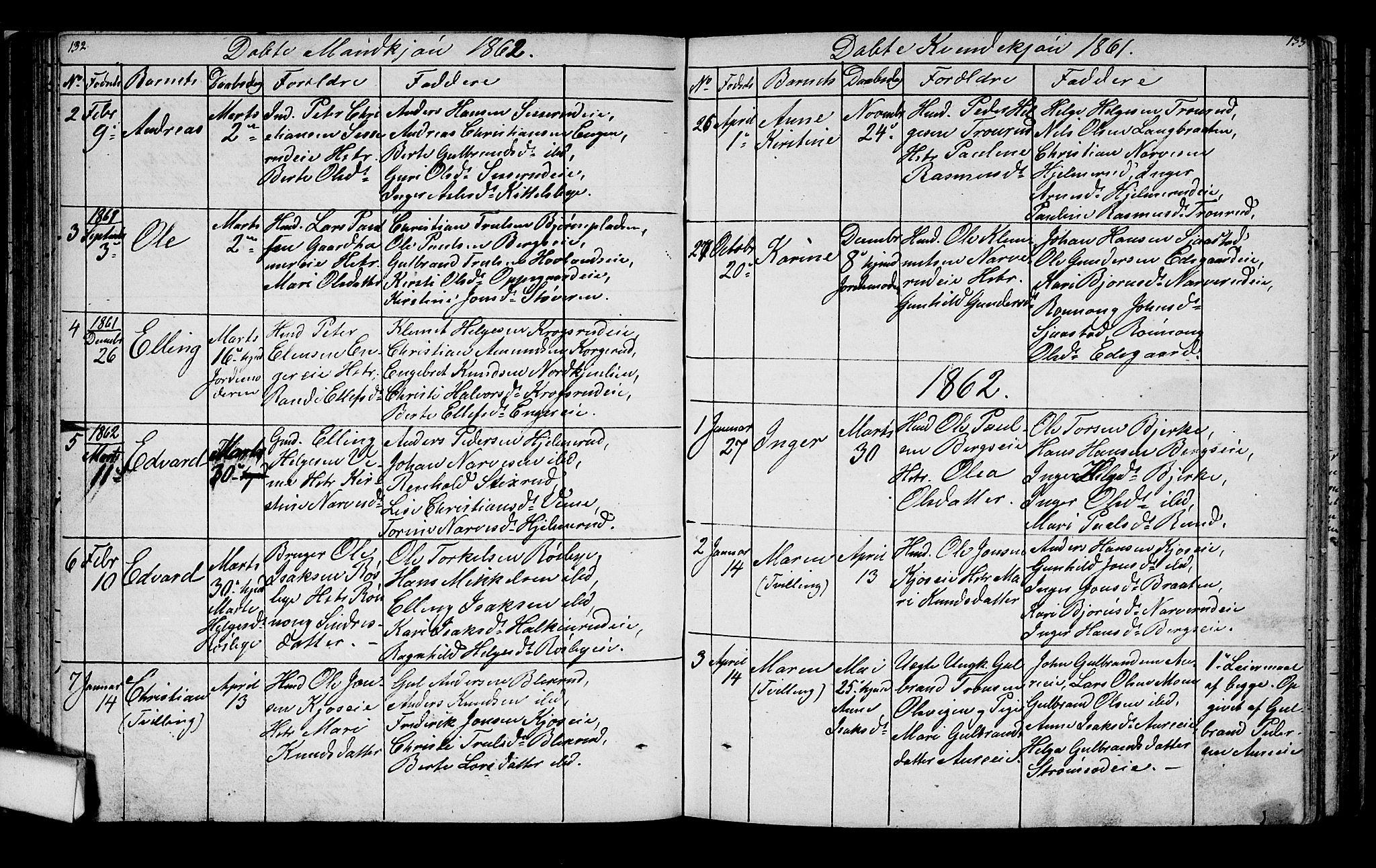 SAKO, Lunder kirkebøker, G/Ga/L0002: Klokkerbok nr. I 2, 1849-1868, s. 132-133