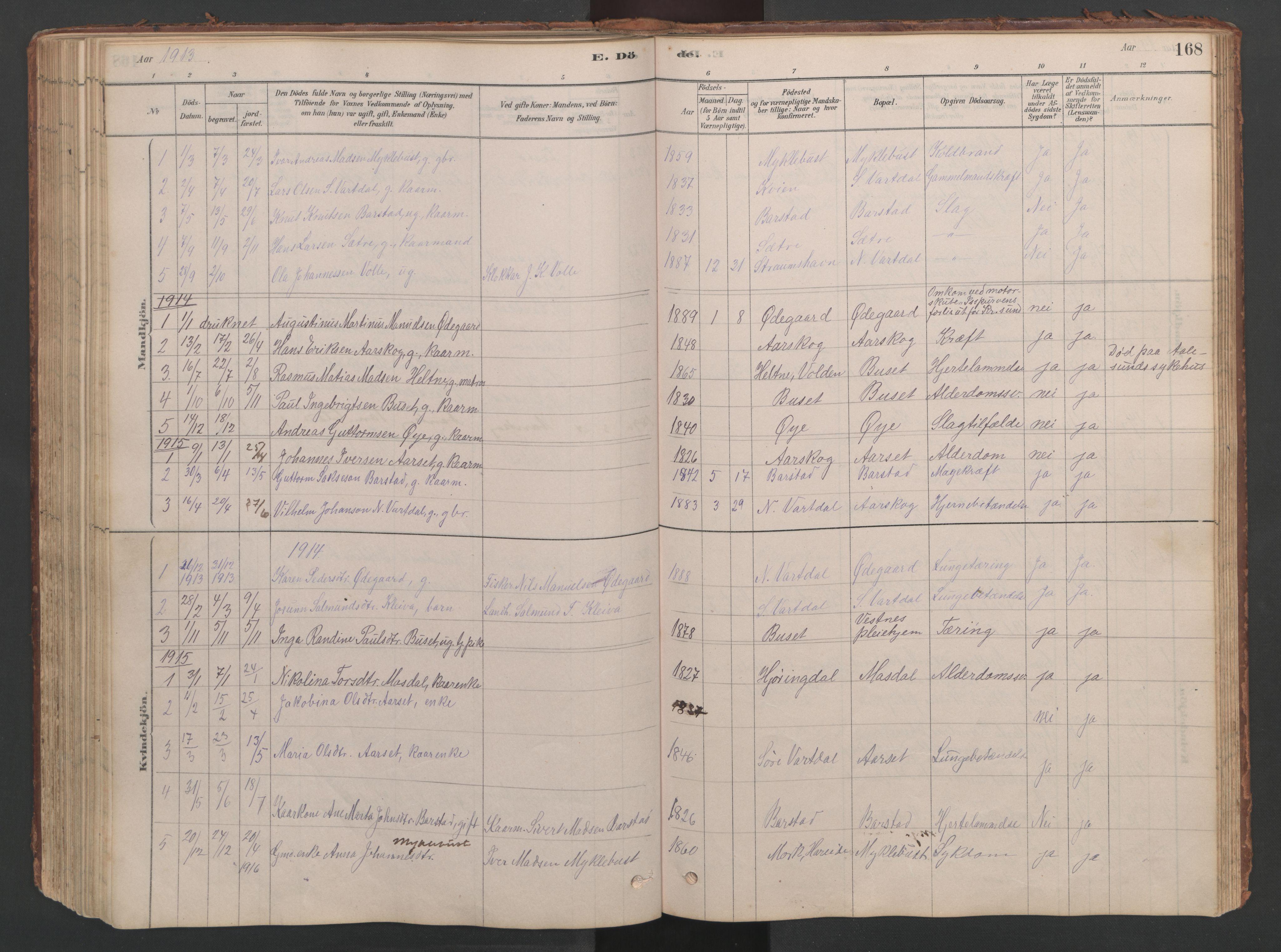 SAT, Ministerialprotokoller, klokkerbøker og fødselsregistre - Møre og Romsdal, 514/L0201: Klokkerbok nr. 514C01, 1878-1919, s. 168