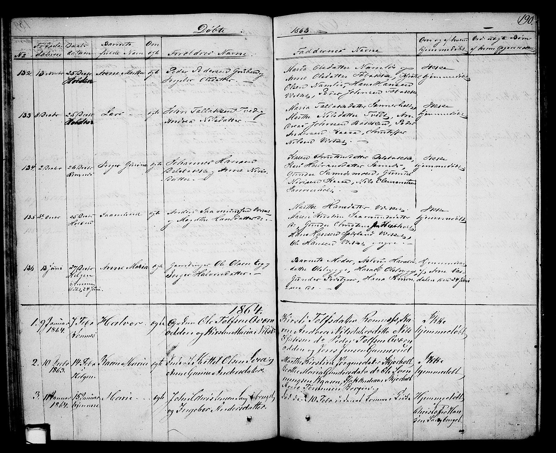 SAKO, Holla kirkebøker, G/Ga/L0003: Klokkerbok nr. I 3, 1849-1866, s. 190