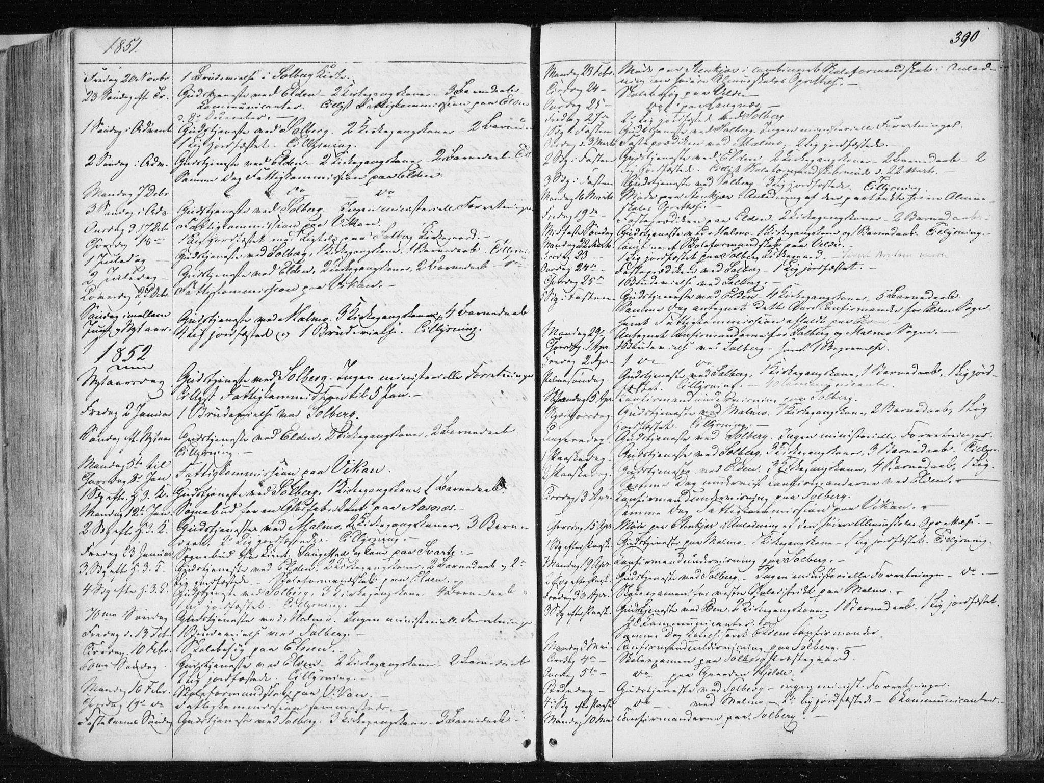 SAT, Ministerialprotokoller, klokkerbøker og fødselsregistre - Nord-Trøndelag, 741/L0393: Ministerialbok nr. 741A07, 1849-1863, s. 390
