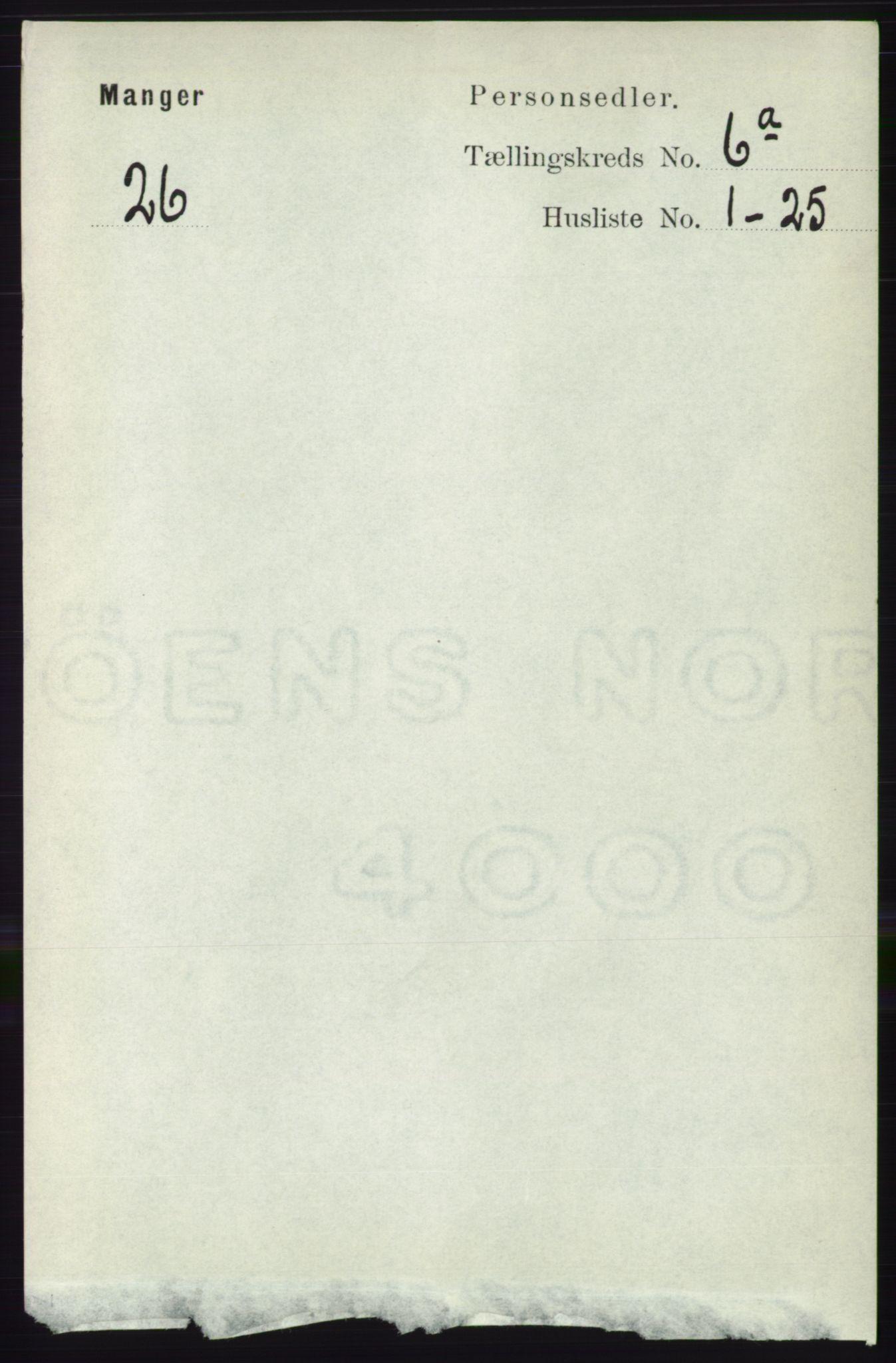 RA, Folketelling 1891 for 1261 Manger herred, 1891, s. 3410