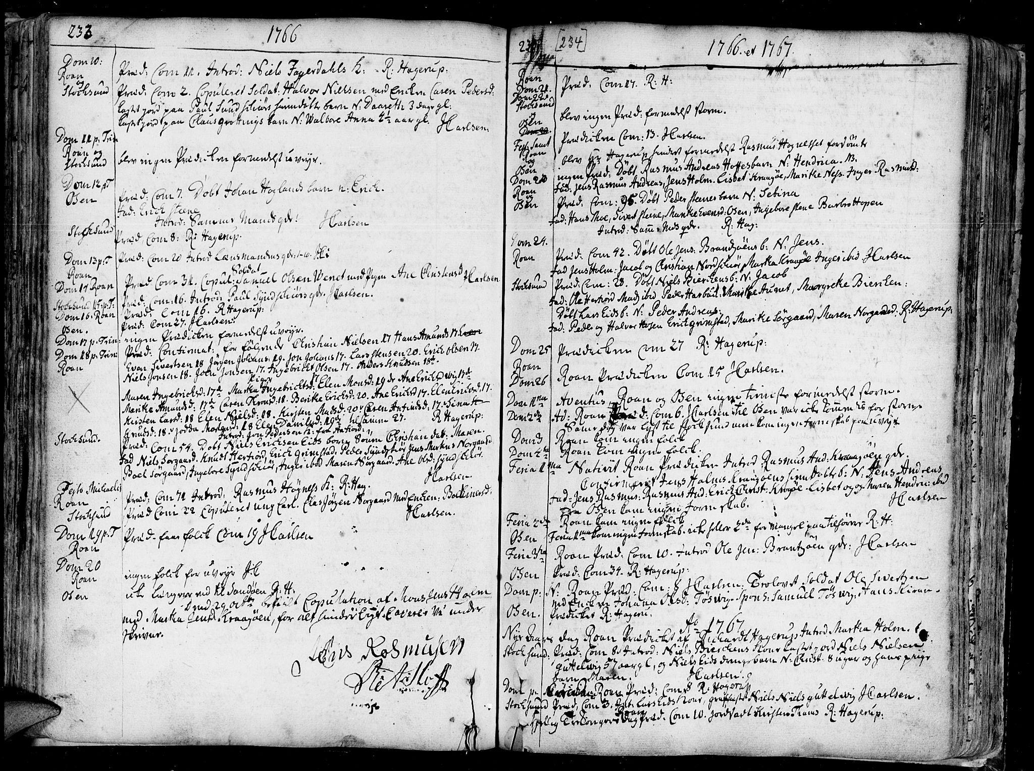 SAT, Ministerialprotokoller, klokkerbøker og fødselsregistre - Sør-Trøndelag, 657/L0700: Ministerialbok nr. 657A01, 1732-1801, s. 233-234