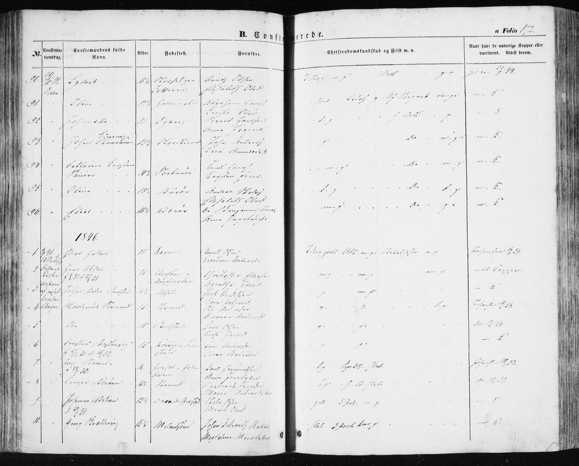 SAT, Ministerialprotokoller, klokkerbøker og fødselsregistre - Sør-Trøndelag, 634/L0529: Ministerialbok nr. 634A05, 1843-1851, s. 172