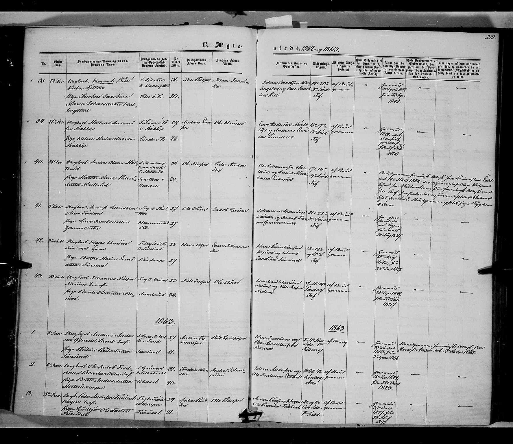 SAH, Vestre Toten prestekontor, H/Ha/Haa/L0007: Ministerialbok nr. 7, 1862-1869, s. 212