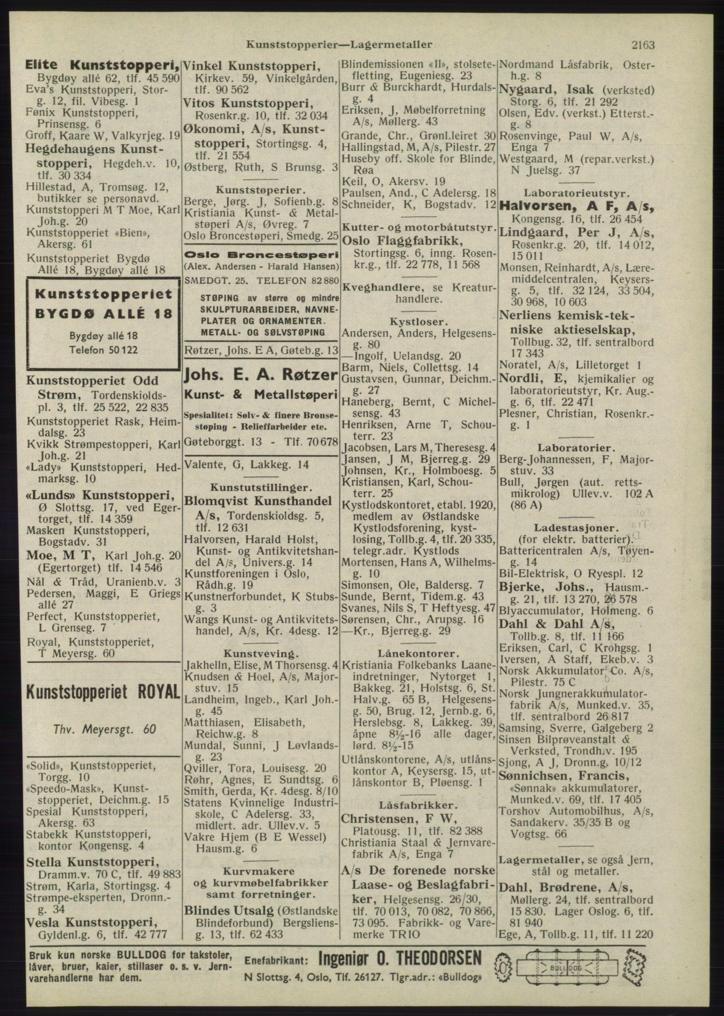 RA, Oslo adressebok (publikasjon)*, 1945, s. 2163