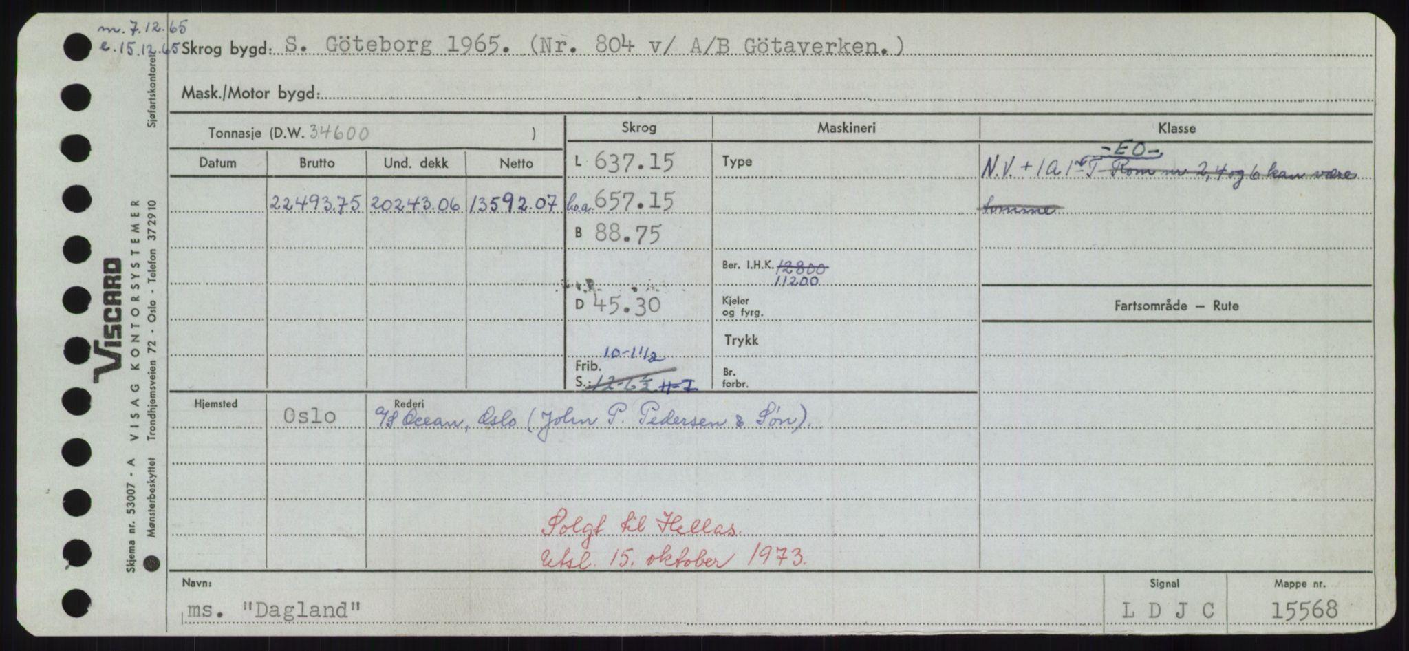 RA, Sjøfartsdirektoratet med forløpere, Skipsmålingen, H/Hd/L0008: Fartøy, C-D, s. 335