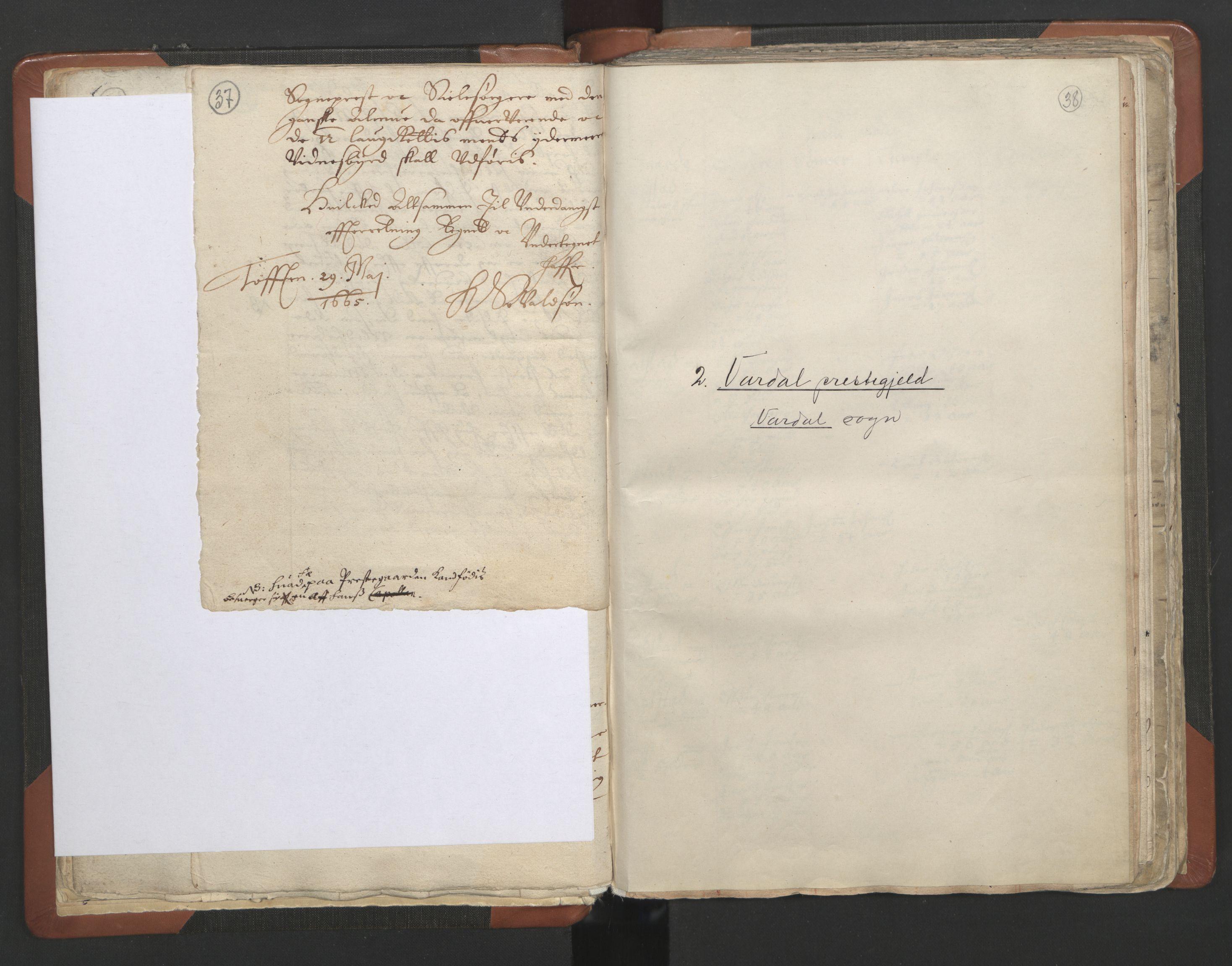 RA, Sogneprestenes manntall 1664-1666, nr. 7: Hadeland prosti, 1664-1666, s. 37-38