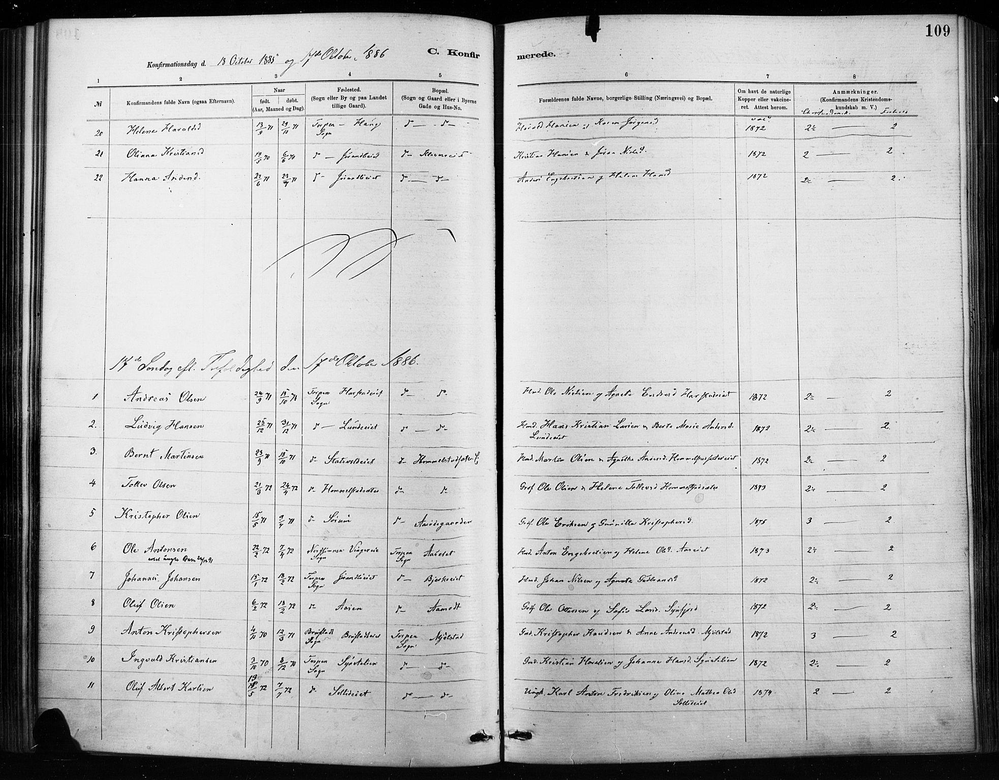 SAH, Nordre Land prestekontor, Ministerialbok nr. 4, 1882-1896, s. 109