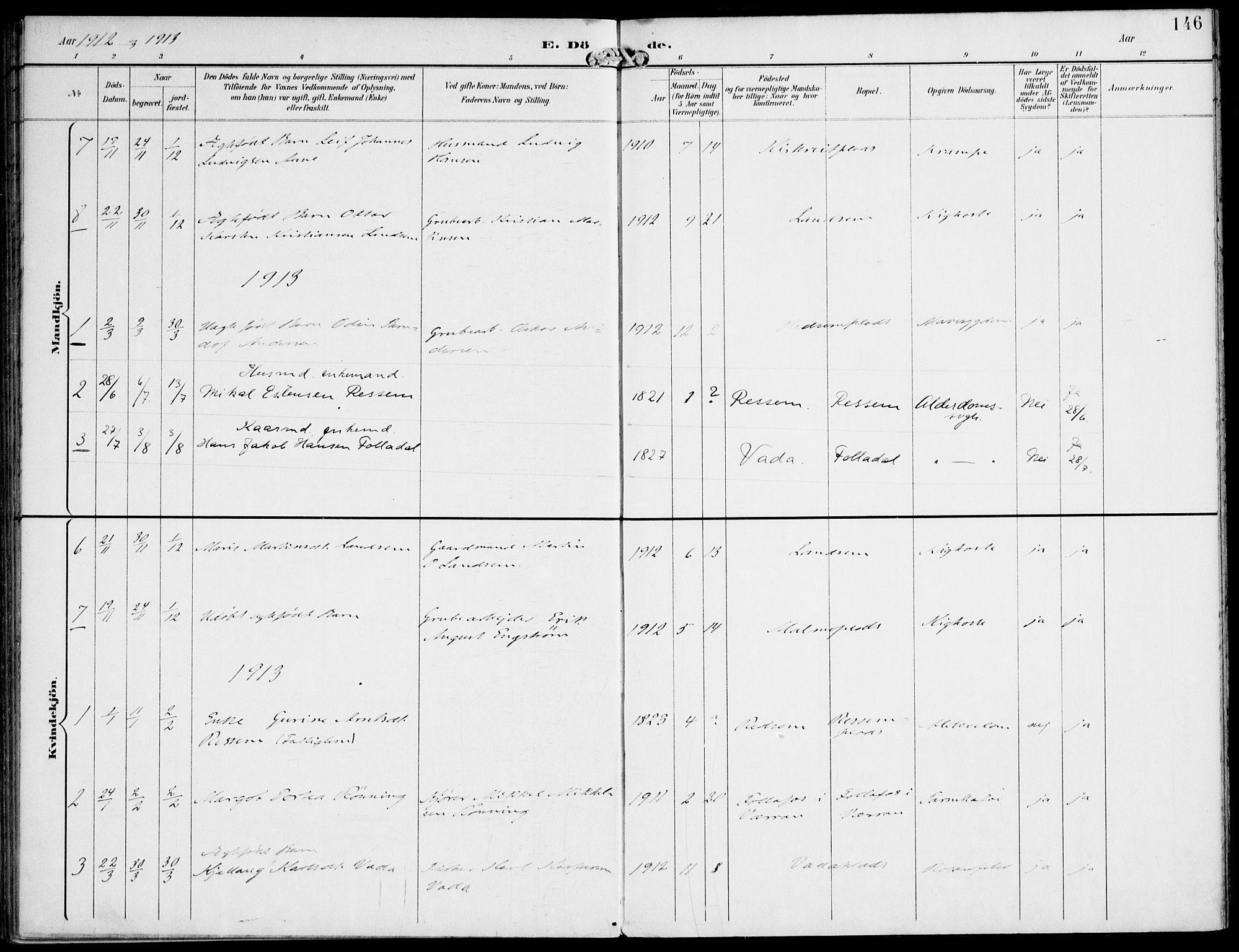 SAT, Ministerialprotokoller, klokkerbøker og fødselsregistre - Nord-Trøndelag, 745/L0430: Ministerialbok nr. 745A02, 1895-1913, s. 146