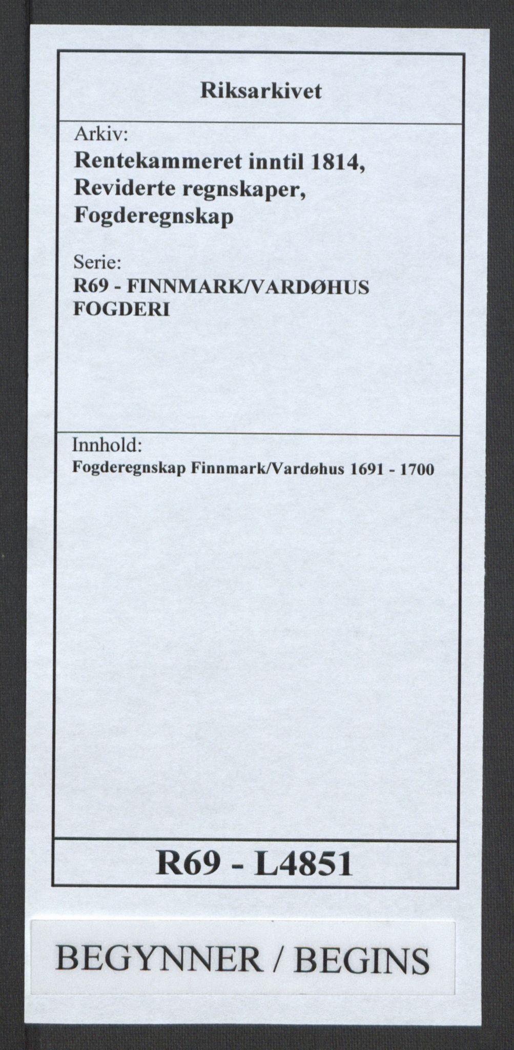 RA, Rentekammeret inntil 1814, Reviderte regnskaper, Fogderegnskap, R69/L4851: Fogderegnskap Finnmark/Vardøhus, 1691-1700, s. 1