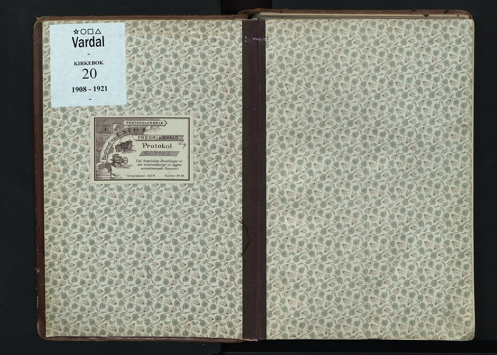 SAH, Vardal prestekontor, H/Ha/Haa/L0020: Ministerialbok nr. 20, 1907-1921