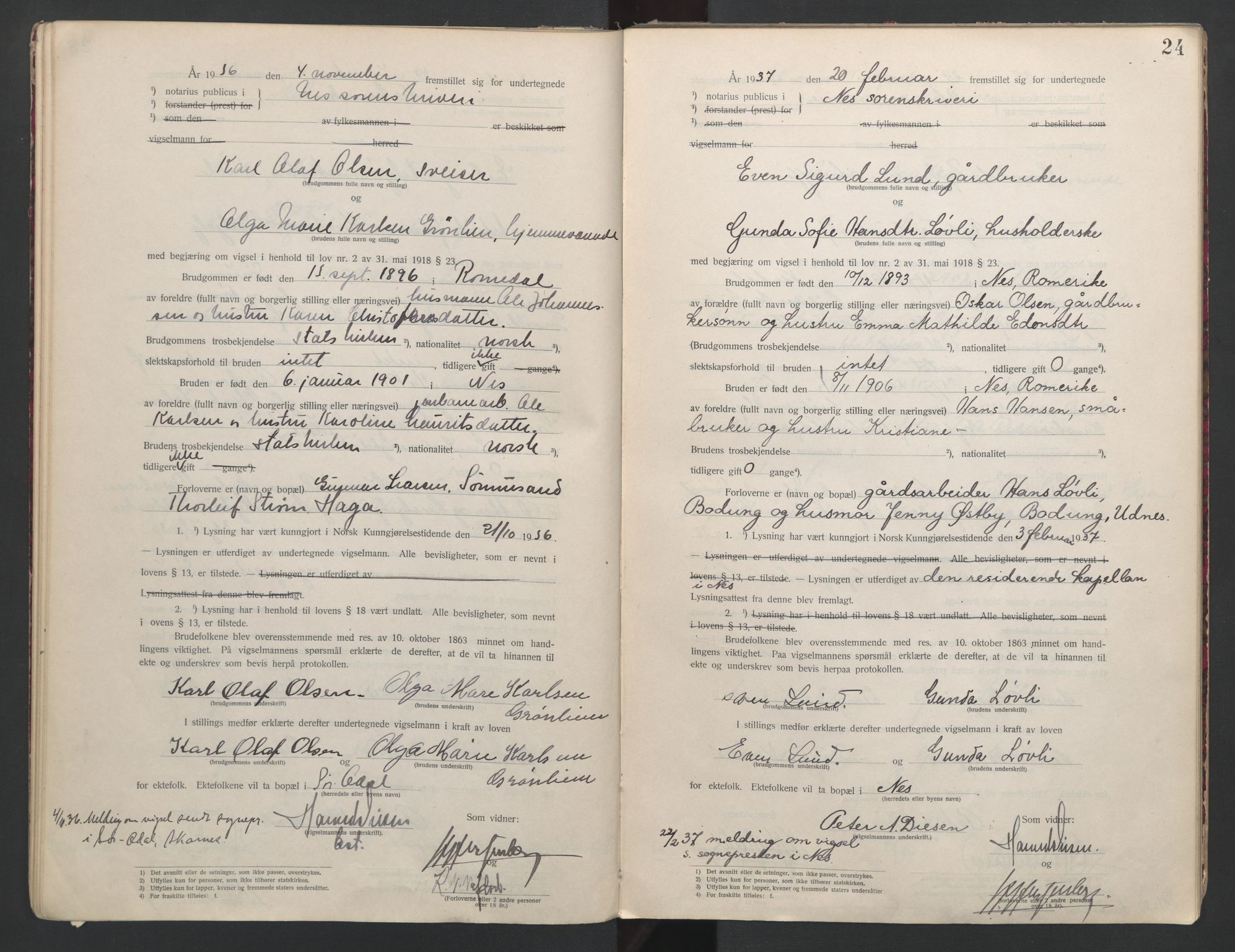 SAO, Nes tingrett, L/Lc/Lca/L0001: Vigselbok, 1920-1943, s. 24