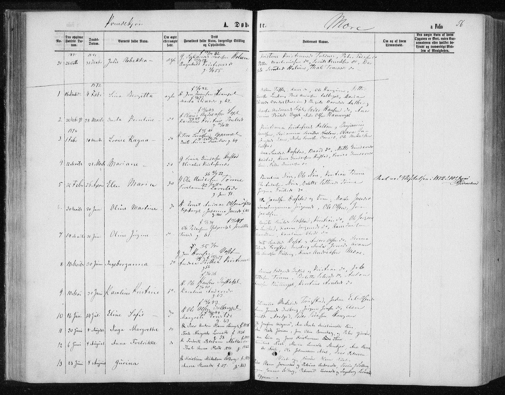 SAT, Ministerialprotokoller, klokkerbøker og fødselsregistre - Nord-Trøndelag, 735/L0345: Ministerialbok nr. 735A08 /1, 1863-1872, s. 56