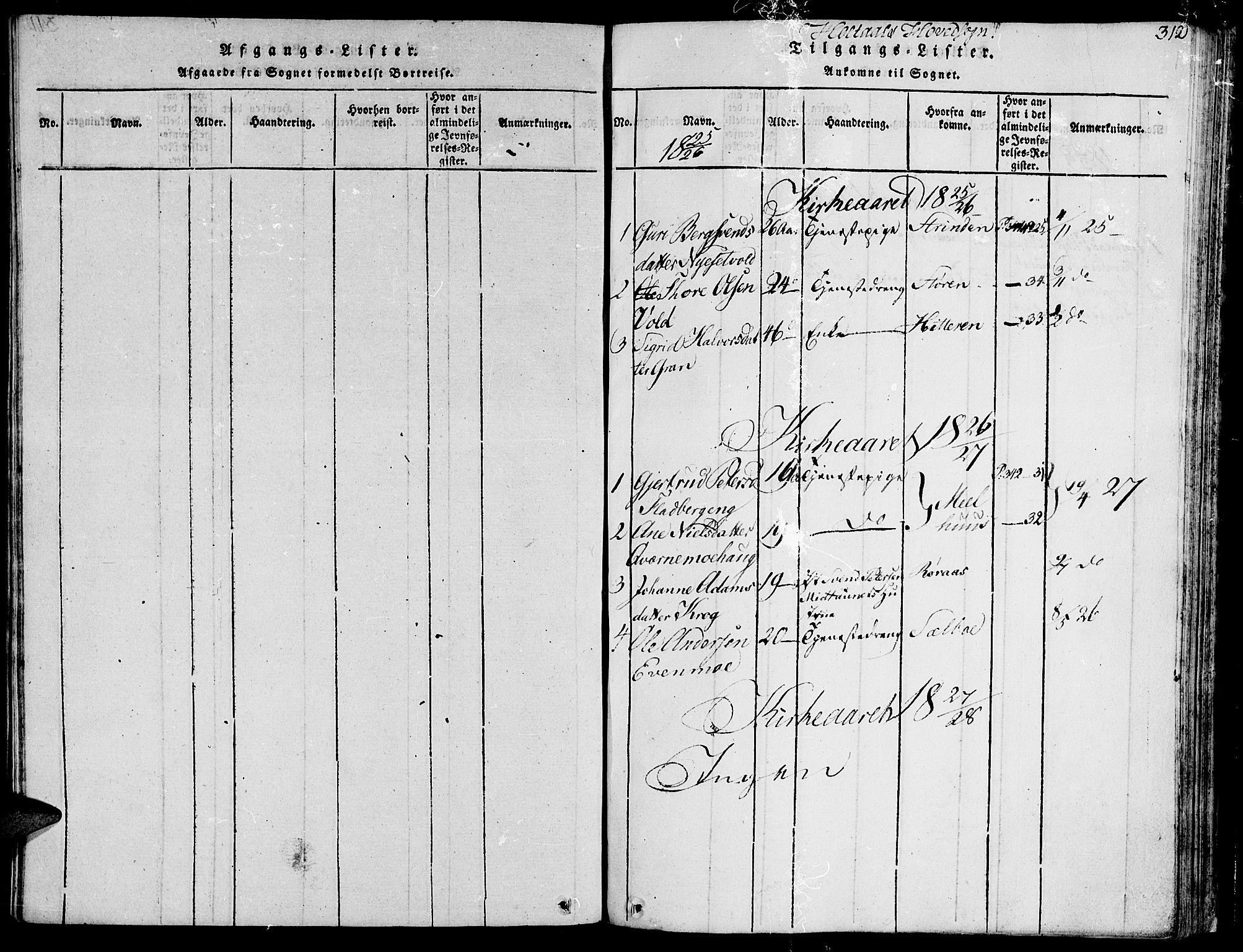 SAT, Ministerialprotokoller, klokkerbøker og fødselsregistre - Sør-Trøndelag, 685/L0954: Ministerialbok nr. 685A03 /1, 1817-1829, s. 312