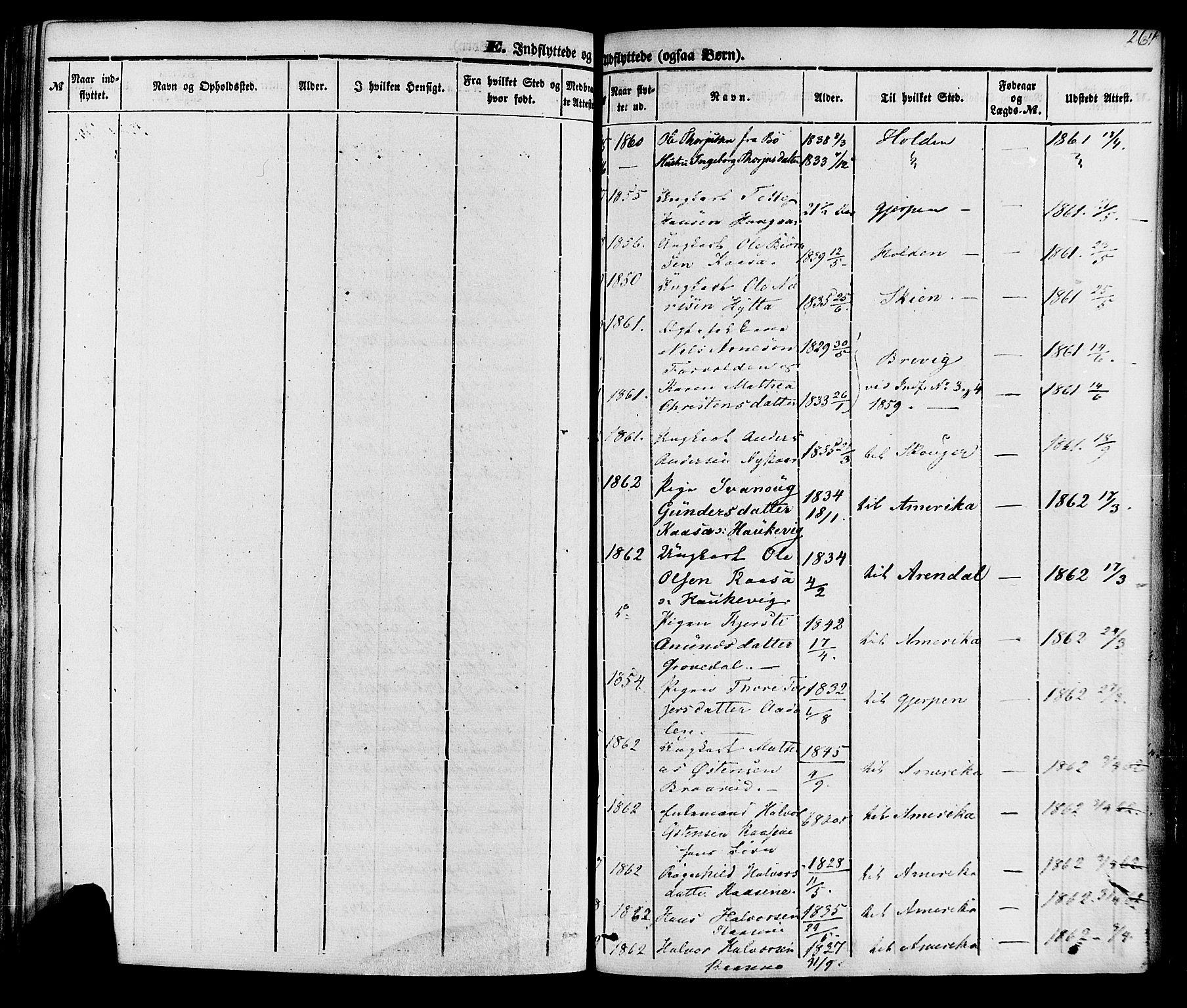 SAKO, Sauherad kirkebøker, F/Fa/L0007: Ministerialbok nr. I 7, 1851-1873, s. 264