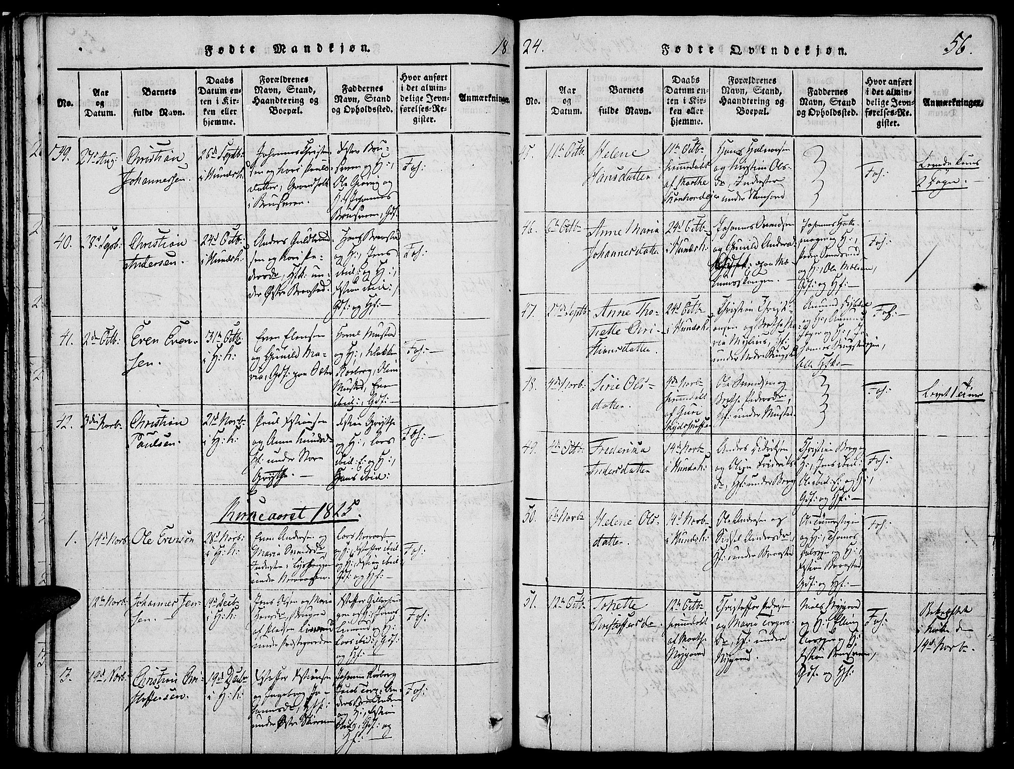 SAH, Vardal prestekontor, H/Ha/Haa/L0004: Ministerialbok nr. 4, 1814-1831, s. 56