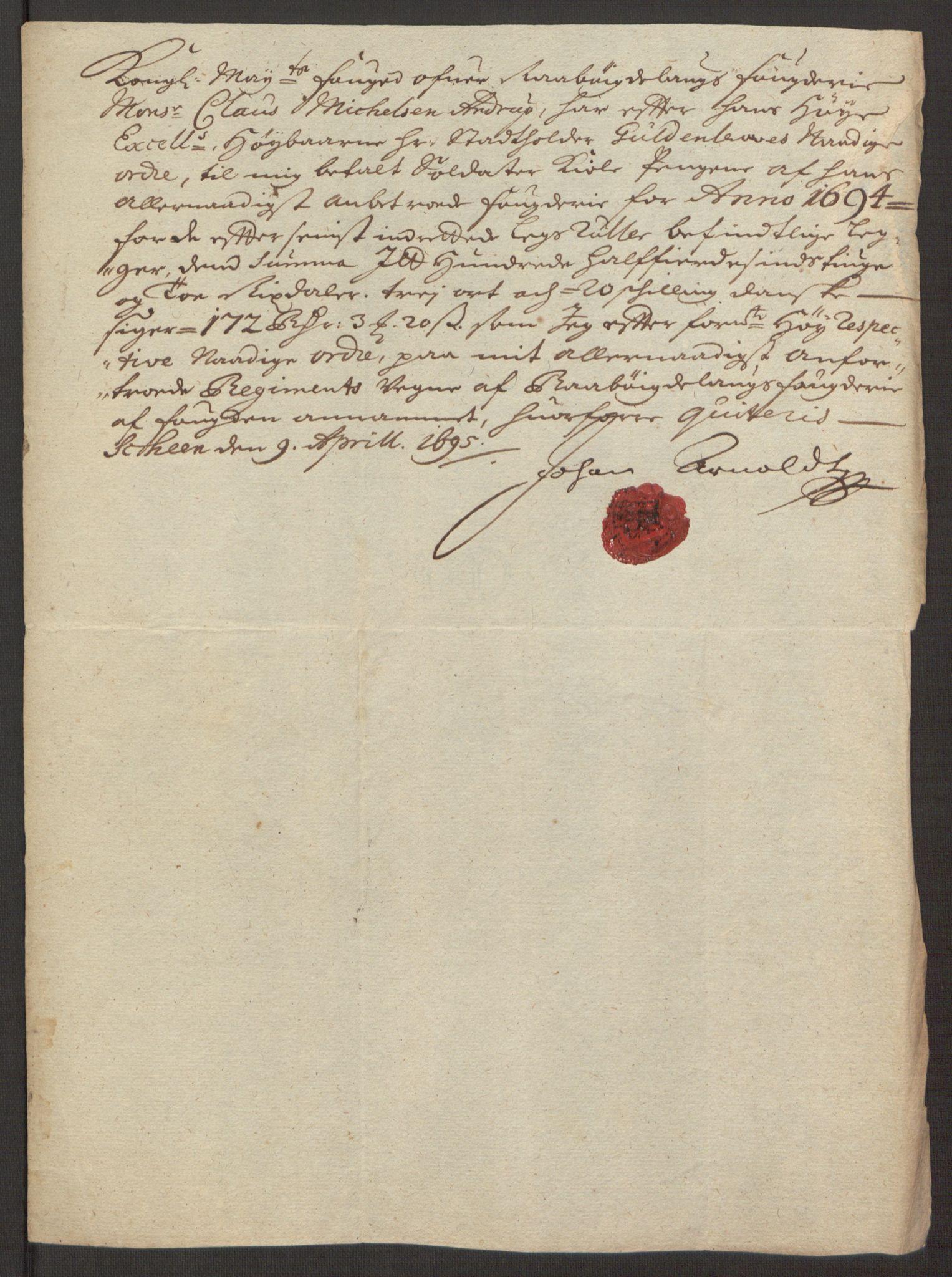 RA, Rentekammeret inntil 1814, Reviderte regnskaper, Fogderegnskap, R40/L2444: Fogderegnskap Råbyggelag, 1693-1696, s. 244