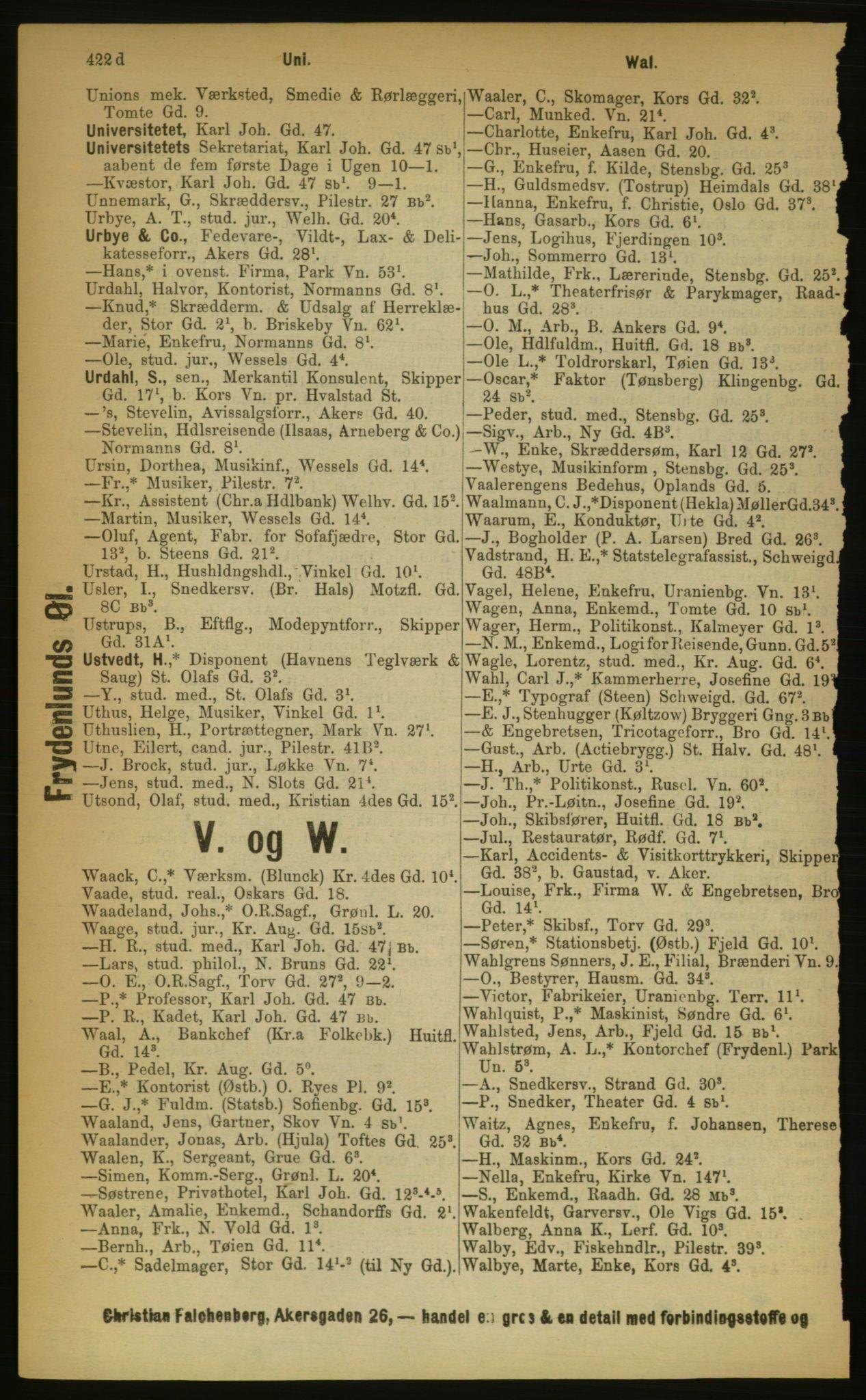 RA, Kristiania adressebok (publikasjon)*, 1889, s. 422d