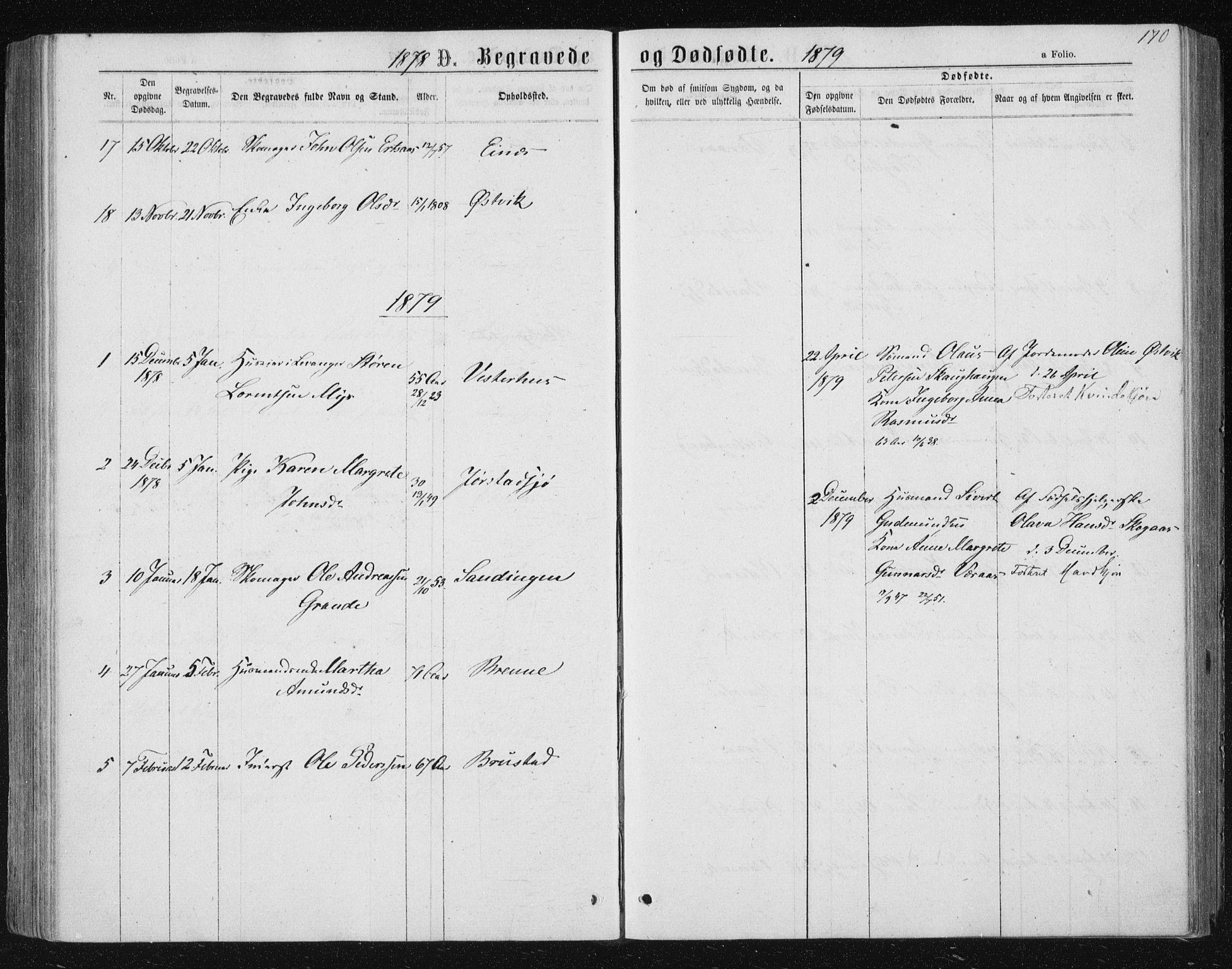 SAT, Ministerialprotokoller, klokkerbøker og fødselsregistre - Nord-Trøndelag, 722/L0219: Ministerialbok nr. 722A06, 1868-1880, s. 170