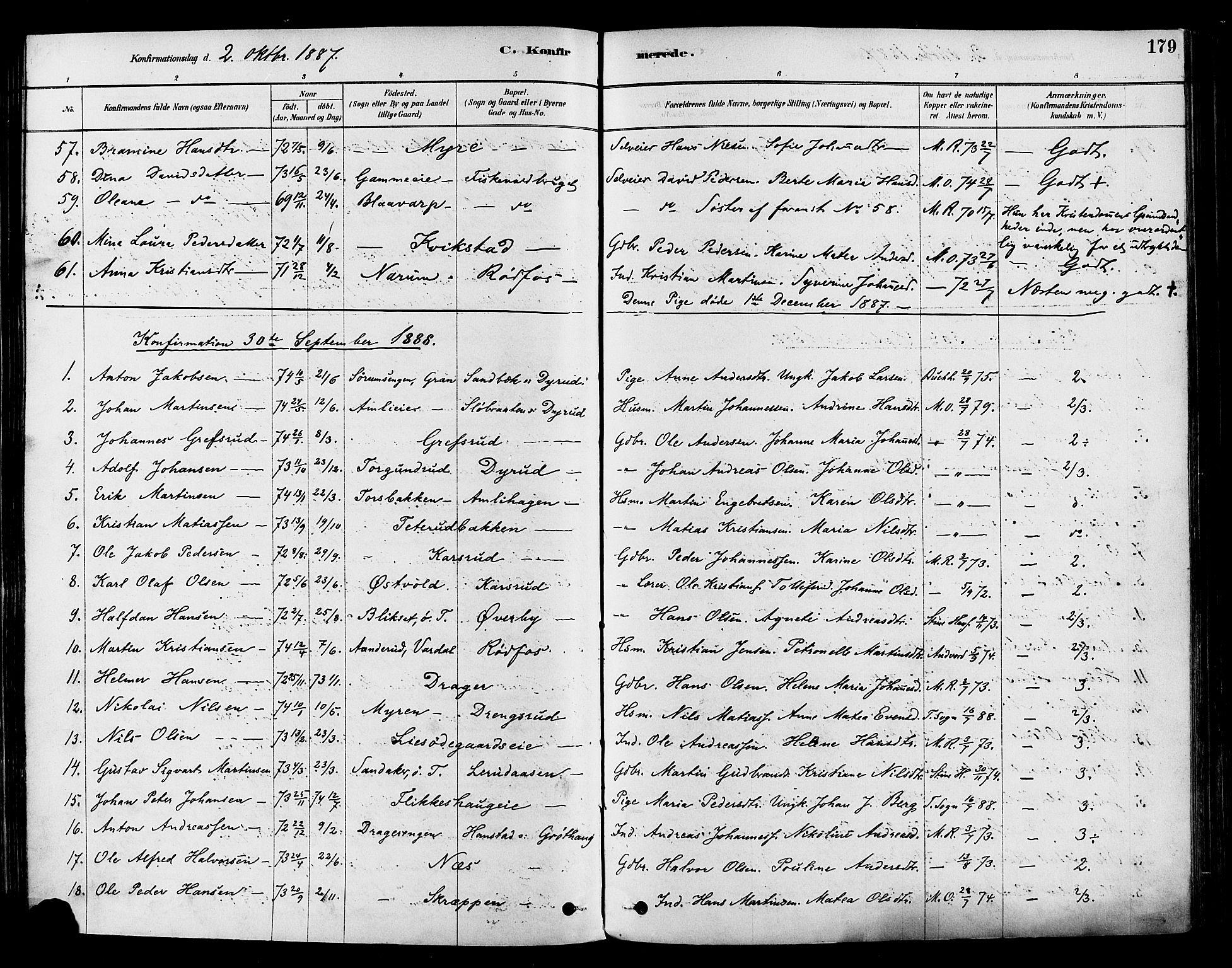 SAH, Vestre Toten prestekontor, Ministerialbok nr. 9, 1878-1894, s. 179