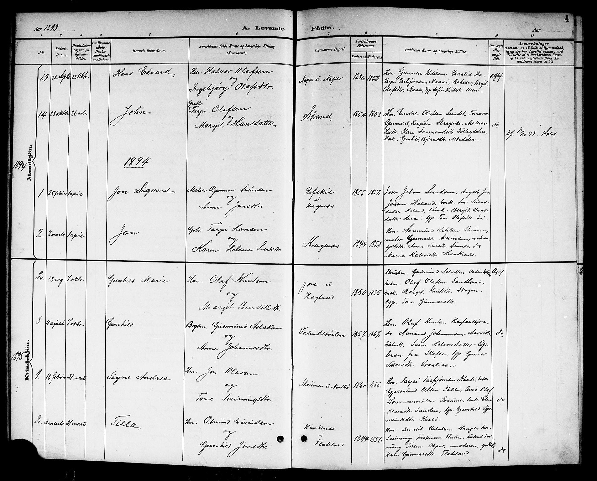 SAKO, Kviteseid kirkebøker, G/Gc/L0001: Klokkerbok nr. III 1, 1893-1916, s. 4