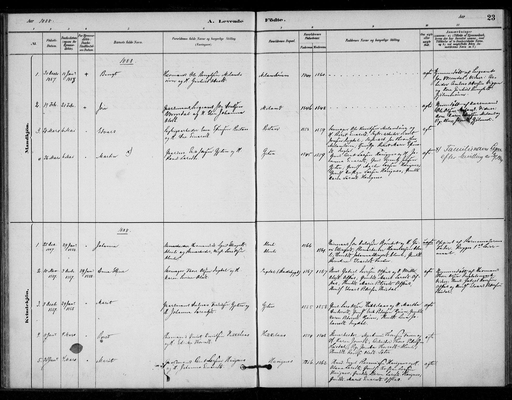 SAT, Ministerialprotokoller, klokkerbøker og fødselsregistre - Sør-Trøndelag, 670/L0836: Ministerialbok nr. 670A01, 1879-1904, s. 23