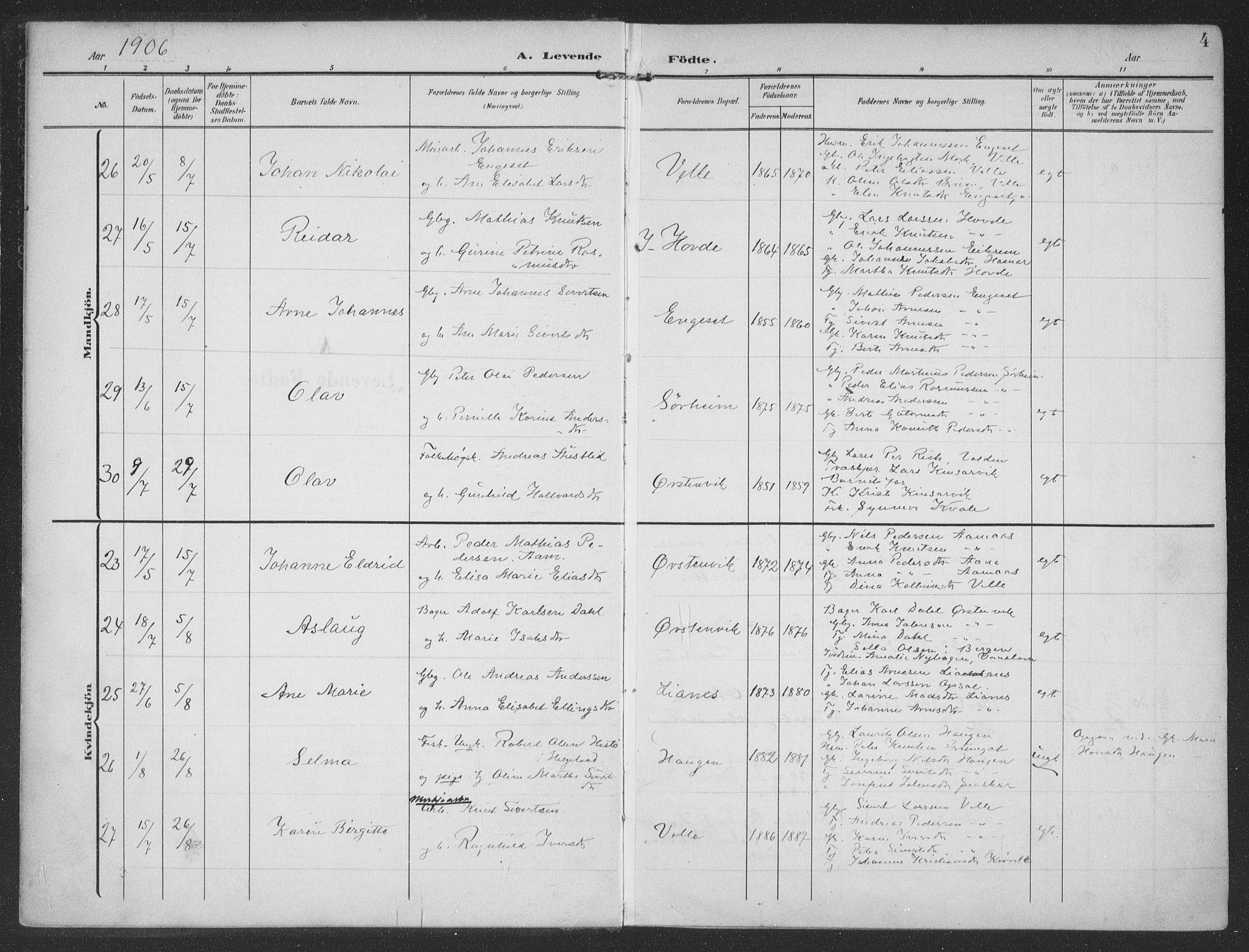 SAT, Ministerialprotokoller, klokkerbøker og fødselsregistre - Møre og Romsdal, 513/L0178: Ministerialbok nr. 513A05, 1906-1919, s. 4