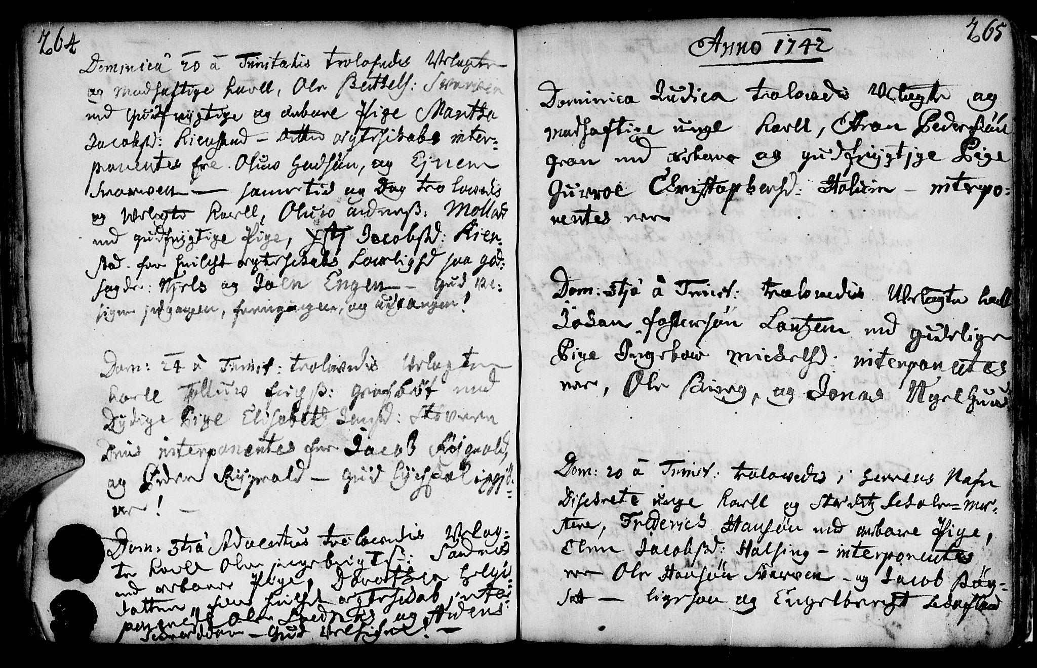 SAT, Ministerialprotokoller, klokkerbøker og fødselsregistre - Nord-Trøndelag, 749/L0467: Ministerialbok nr. 749A01, 1733-1787, s. 264-265