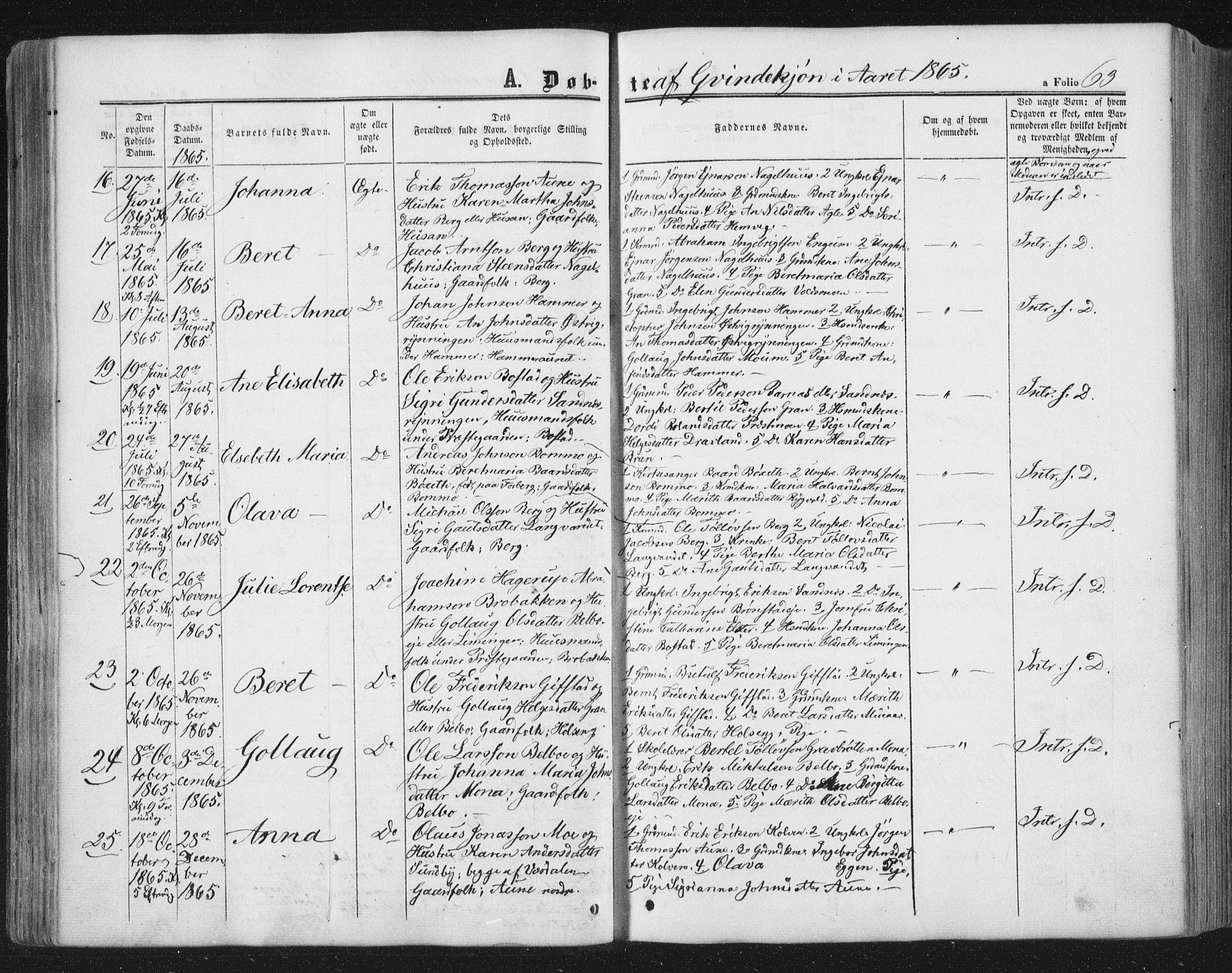 SAT, Ministerialprotokoller, klokkerbøker og fødselsregistre - Nord-Trøndelag, 749/L0472: Ministerialbok nr. 749A06, 1857-1873, s. 63
