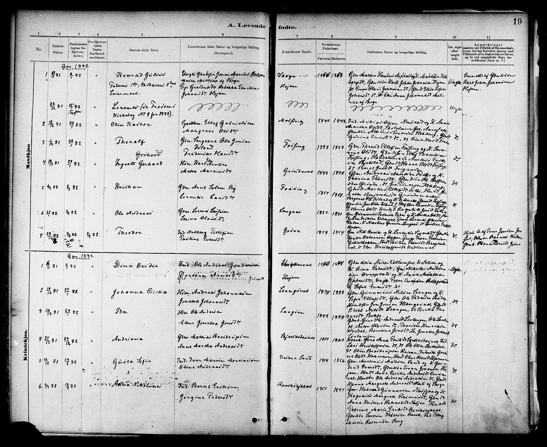 SAT, Ministerialprotokoller, klokkerbøker og fødselsregistre - Nord-Trøndelag, 714/L0130: Ministerialbok nr. 714A01, 1878-1895, s. 19