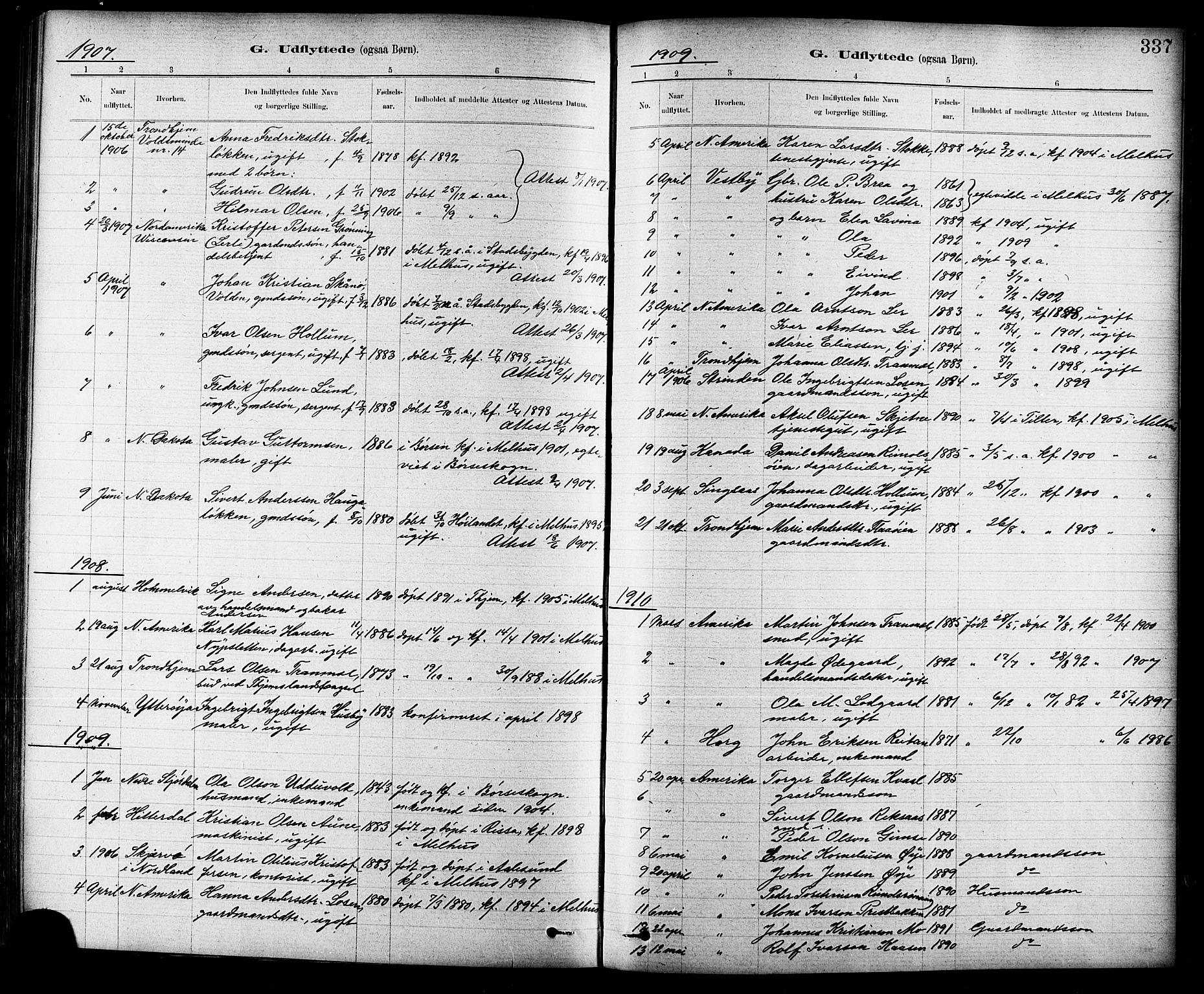 SAT, Ministerialprotokoller, klokkerbøker og fødselsregistre - Sør-Trøndelag, 691/L1094: Klokkerbok nr. 691C05, 1879-1911, s. 337