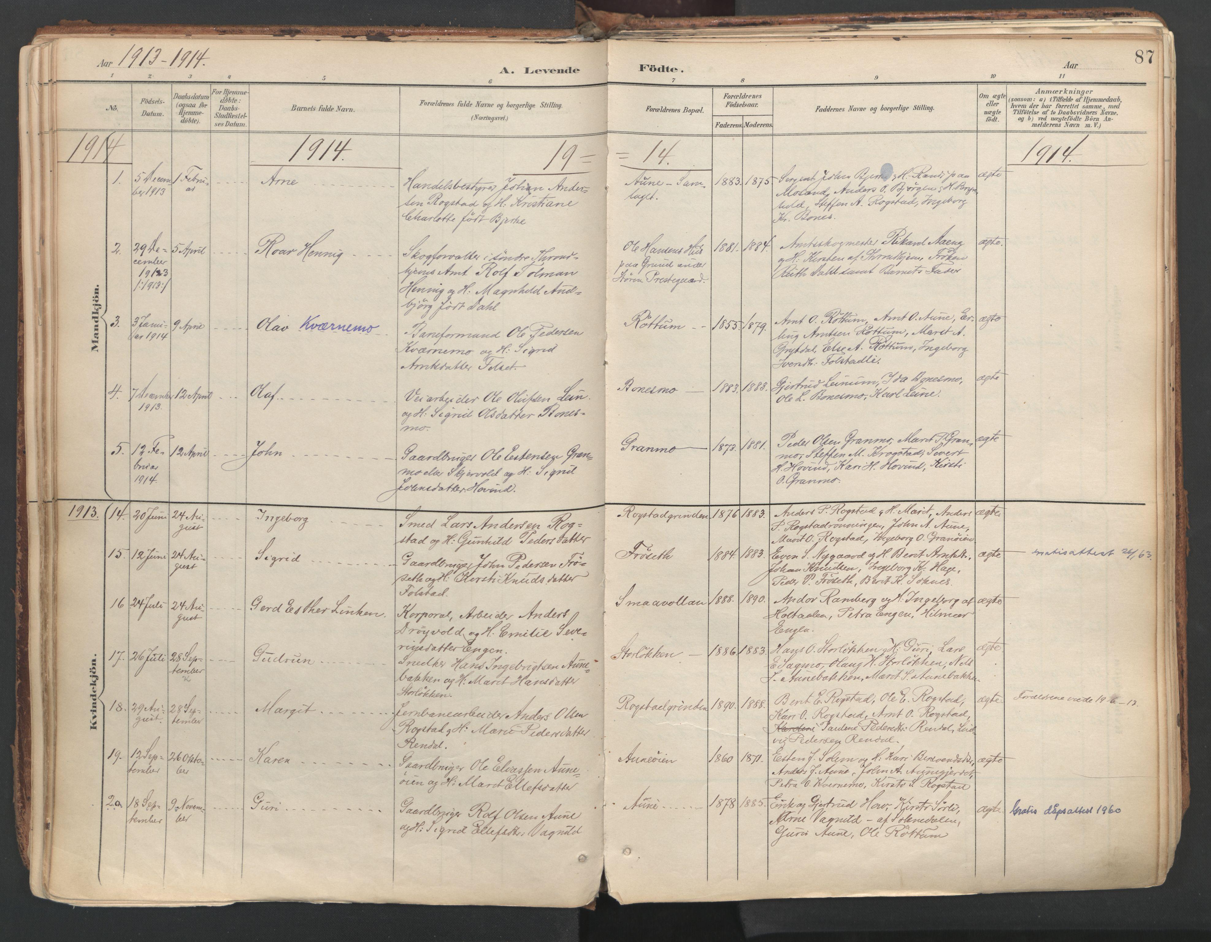 SAT, Ministerialprotokoller, klokkerbøker og fødselsregistre - Sør-Trøndelag, 687/L1004: Ministerialbok nr. 687A10, 1891-1923, s. 87