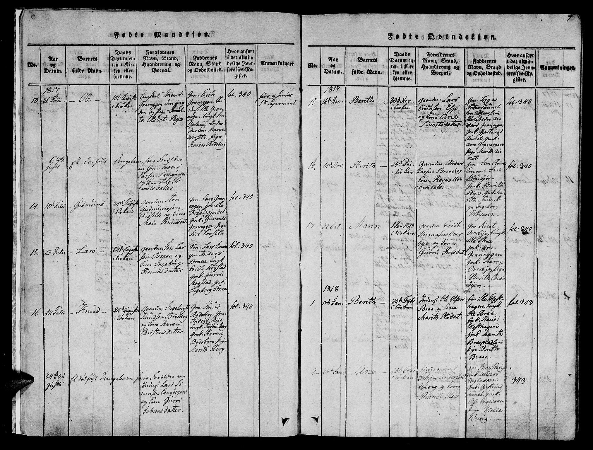 SAT, Ministerialprotokoller, klokkerbøker og fødselsregistre - Sør-Trøndelag, 612/L0372: Ministerialbok nr. 612A06 /1, 1816-1828, s. 7