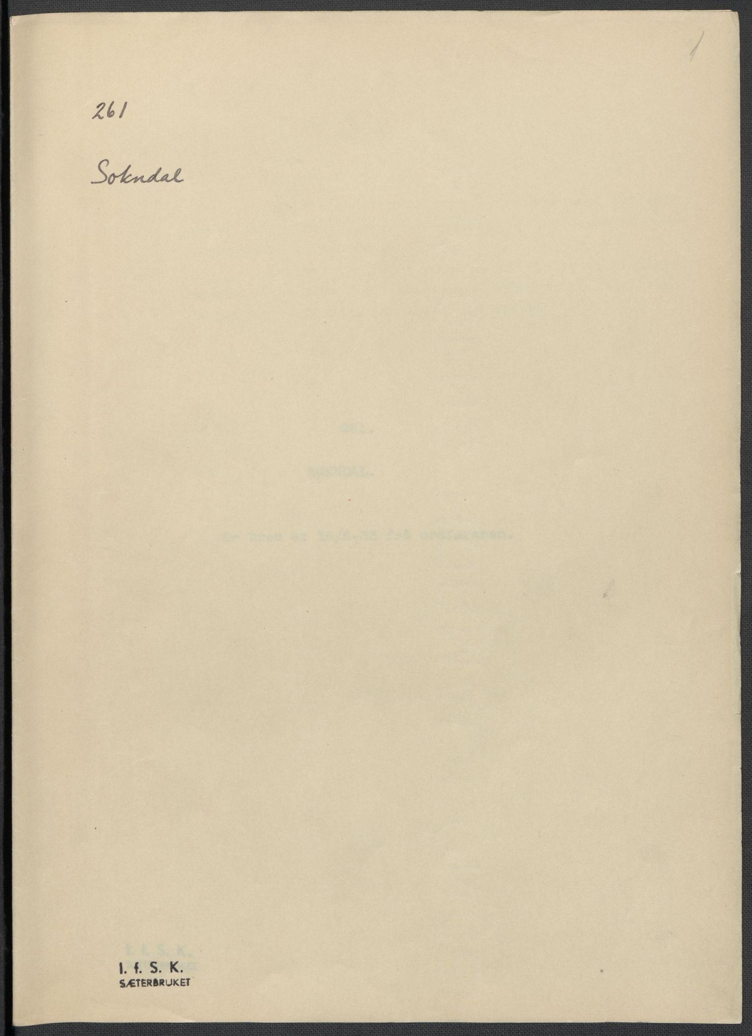 RA, Instituttet for sammenlignende kulturforskning, F/Fc/L0009: Eske B9:, 1932-1935, s. 1
