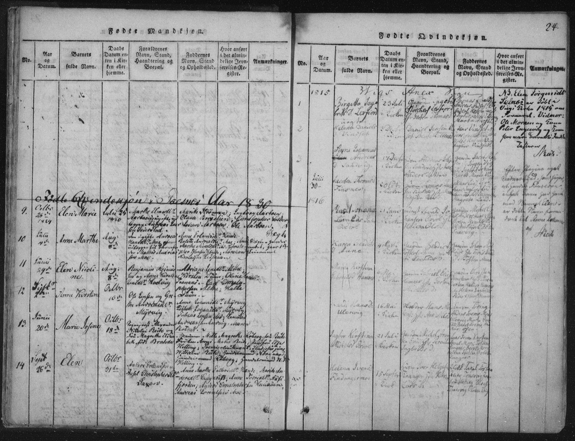 SAT, Ministerialprotokoller, klokkerbøker og fødselsregistre - Nord-Trøndelag, 773/L0609: Ministerialbok nr. 773A03 /2, 1815-1830, s. 24
