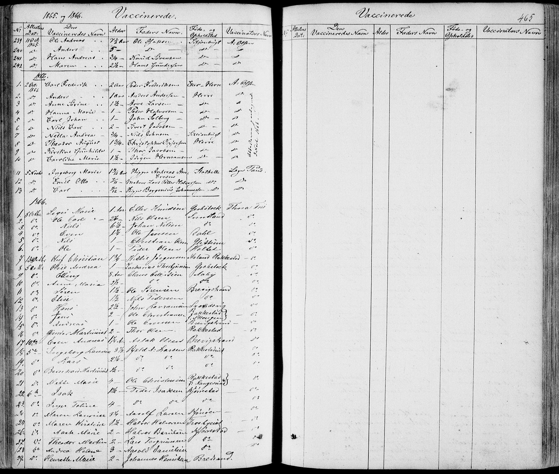 SAKO, Bamble kirkebøker, F/Fa/L0005: Ministerialbok nr. I 5, 1854-1869, s. 465