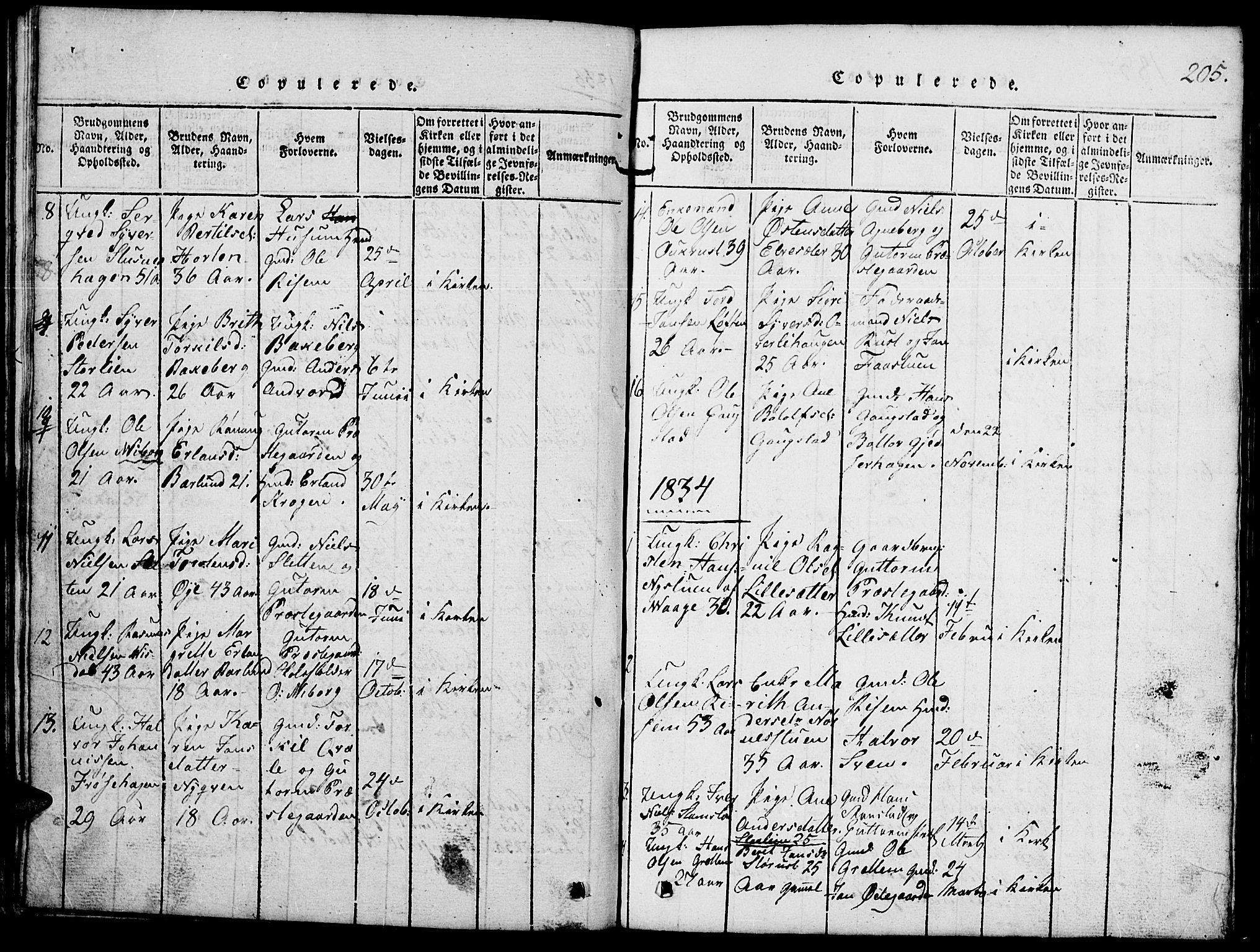 SAH, Lom prestekontor, L/L0001: Klokkerbok nr. 1, 1815-1836, s. 205