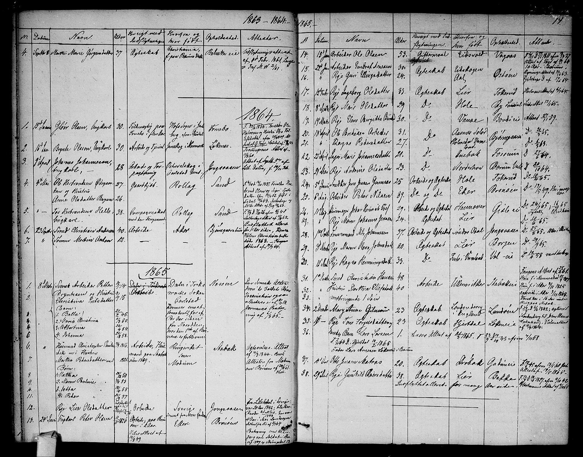 SAO, Asker prestekontor Kirkebøker, F/Fa/L0012: Ministerialbok nr. I 12, 1825-1878, s. 14