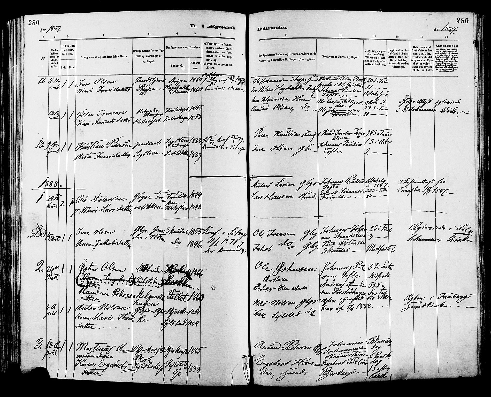 SAH, Sør-Fron prestekontor, H/Ha/Haa/L0003: Ministerialbok nr. 3, 1881-1897, s. 280