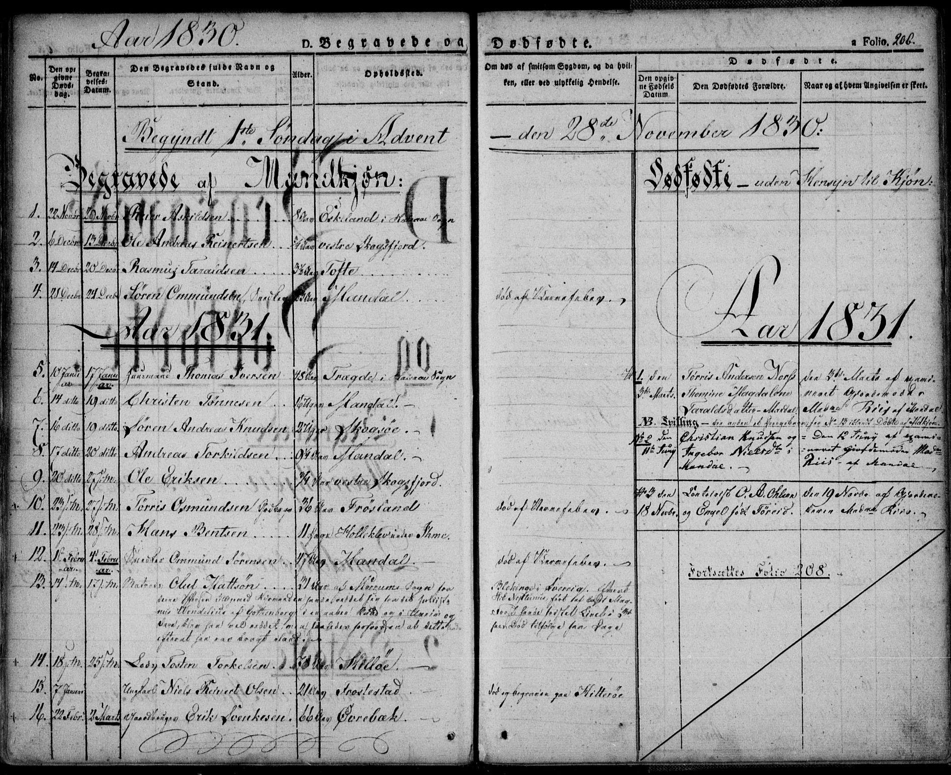 SAK, Mandal sokneprestkontor, F/Fa/Faa/L0011: Ministerialbok nr. A 11, 1830-1839, s. 206