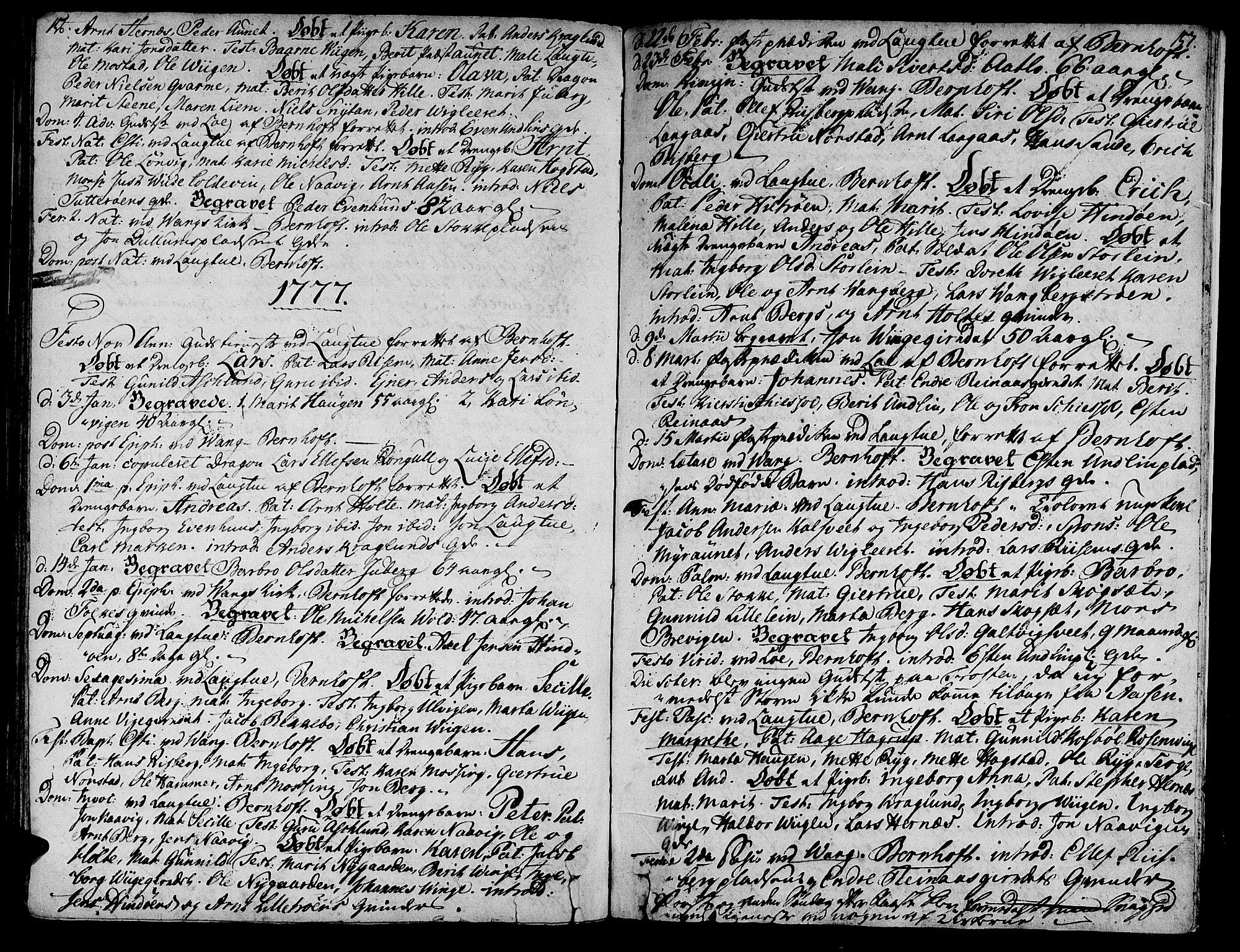 SAT, Ministerialprotokoller, klokkerbøker og fødselsregistre - Nord-Trøndelag, 713/L0109: Ministerialbok nr. 713A01, 1750-1778, s. 156-157