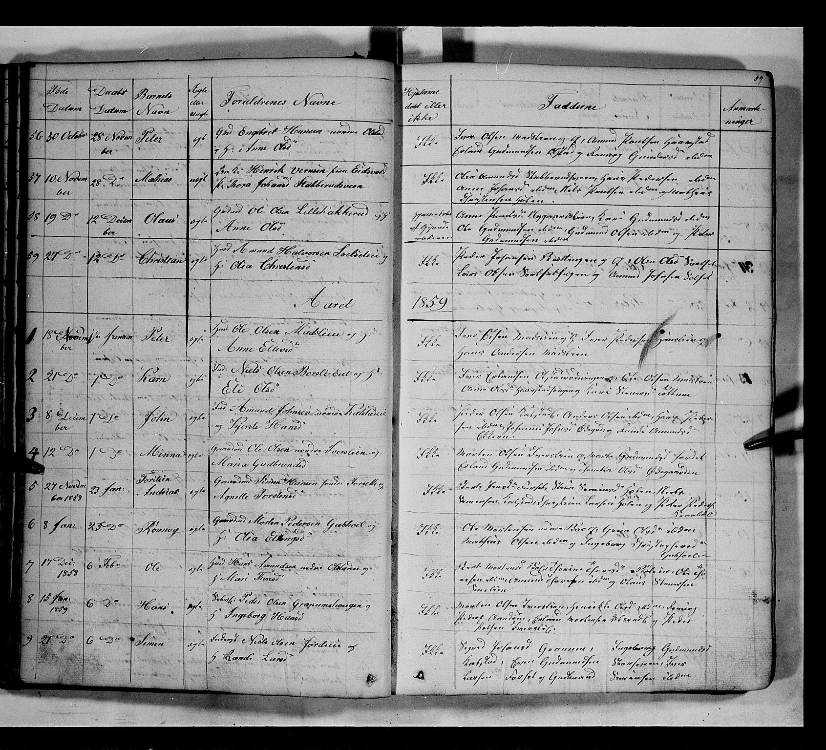 SAH, Gausdal prestekontor, Klokkerbok nr. 5, 1846-1867, s. 59