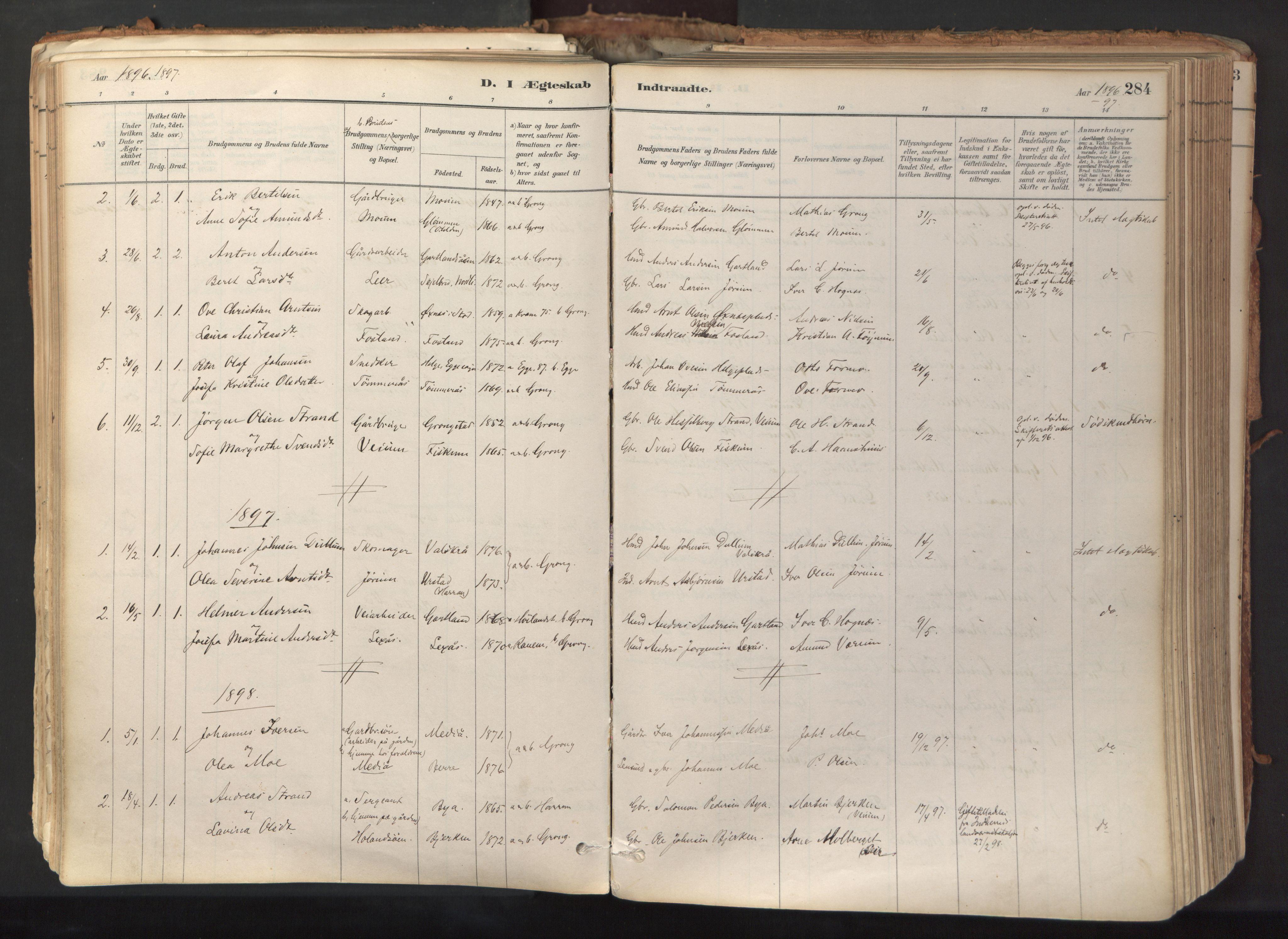 SAT, Ministerialprotokoller, klokkerbøker og fødselsregistre - Nord-Trøndelag, 758/L0519: Ministerialbok nr. 758A04, 1880-1926, s. 284