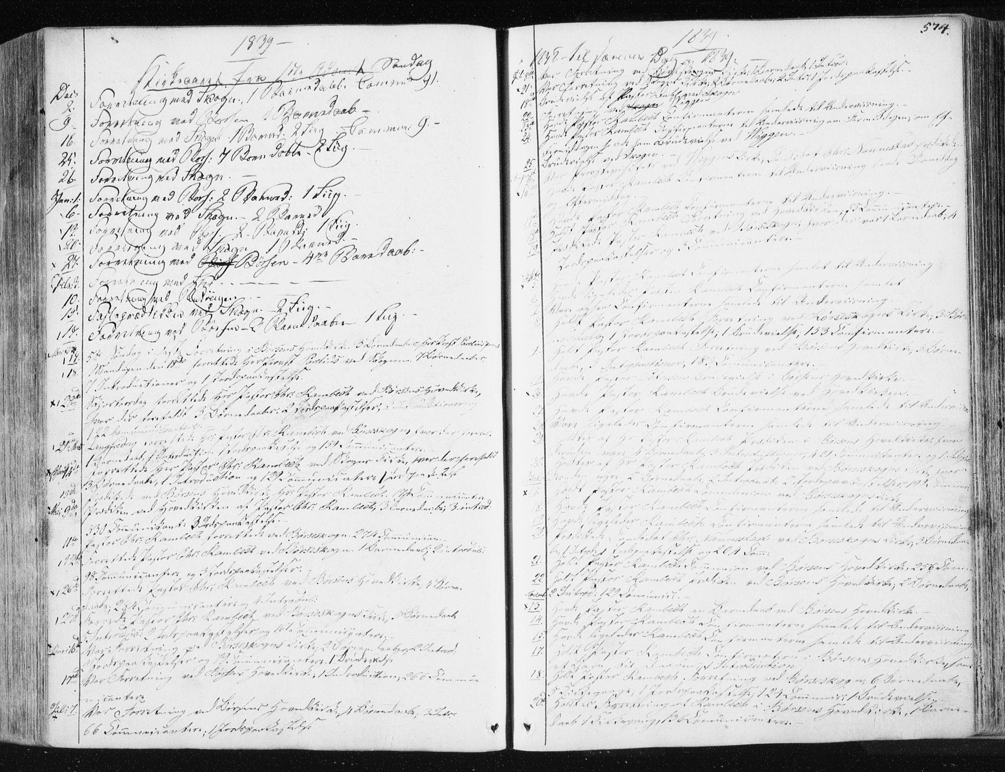 SAT, Ministerialprotokoller, klokkerbøker og fødselsregistre - Sør-Trøndelag, 665/L0771: Ministerialbok nr. 665A06, 1830-1856, s. 574